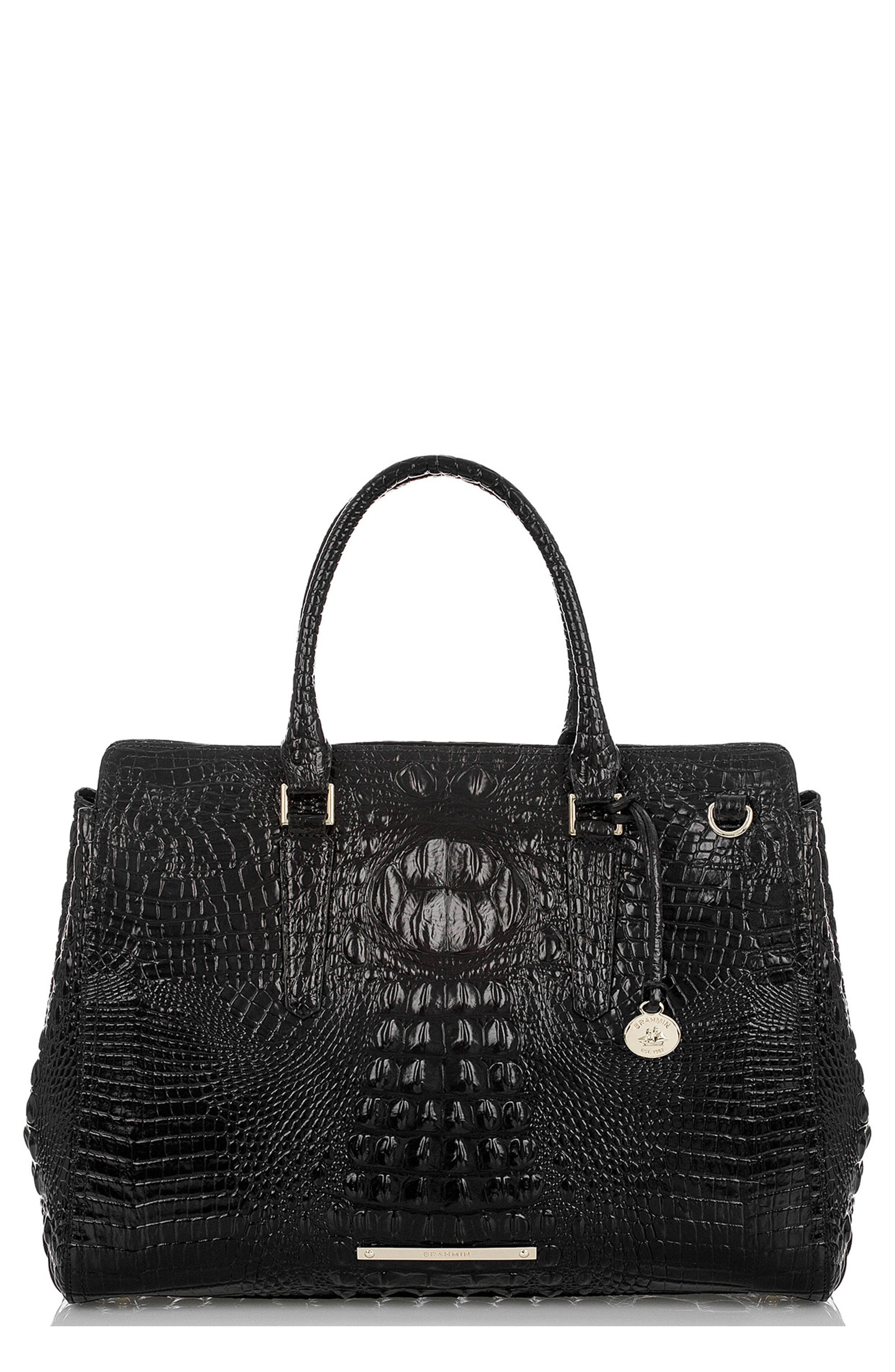 BRAHMIN, Finley Croc Embossed Leather Tote, Main thumbnail 1, color, 001
