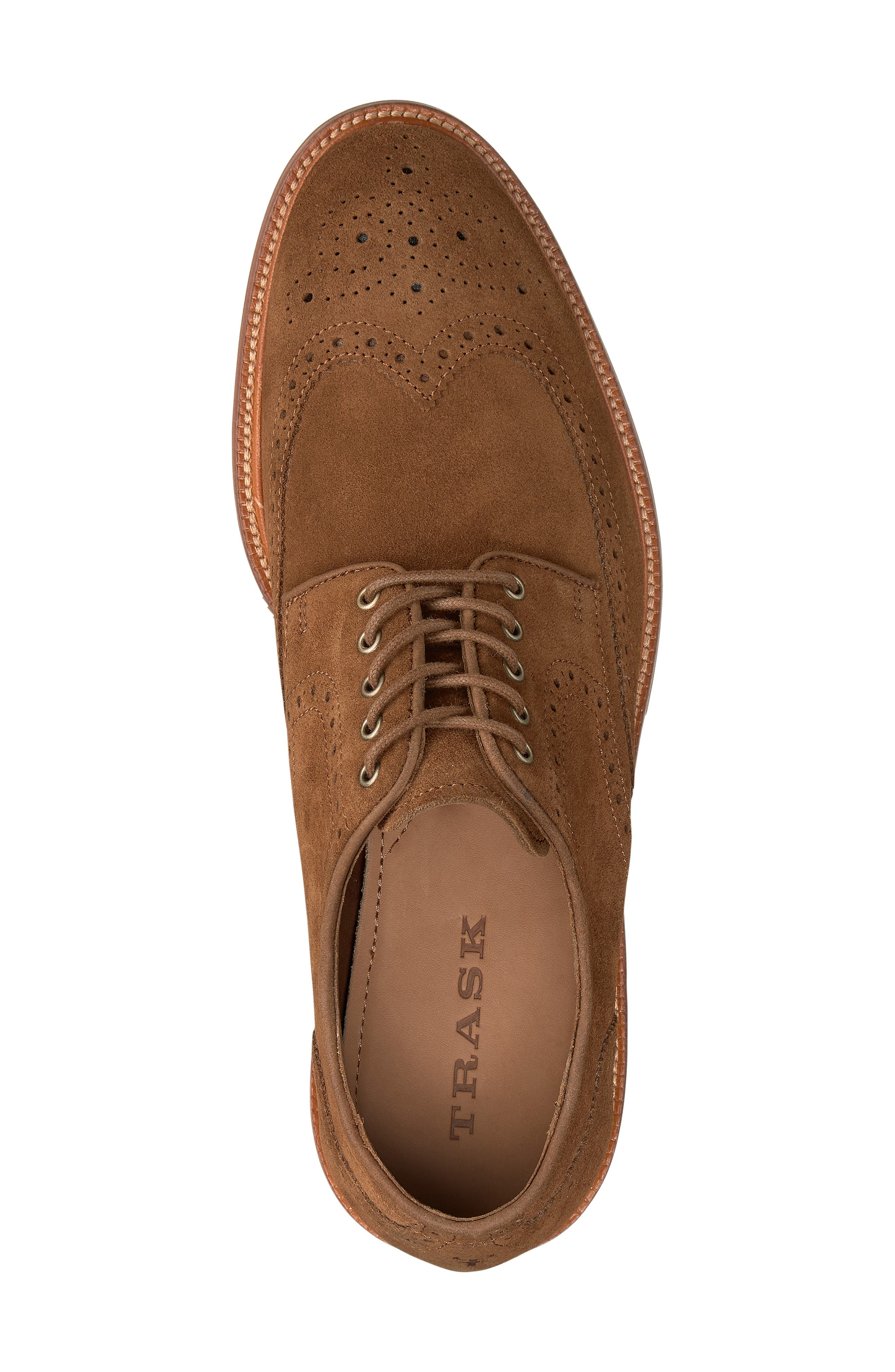 TRASK, Logan Wingtip Derby, Alternate thumbnail 5, color, SNUFF SUEDE