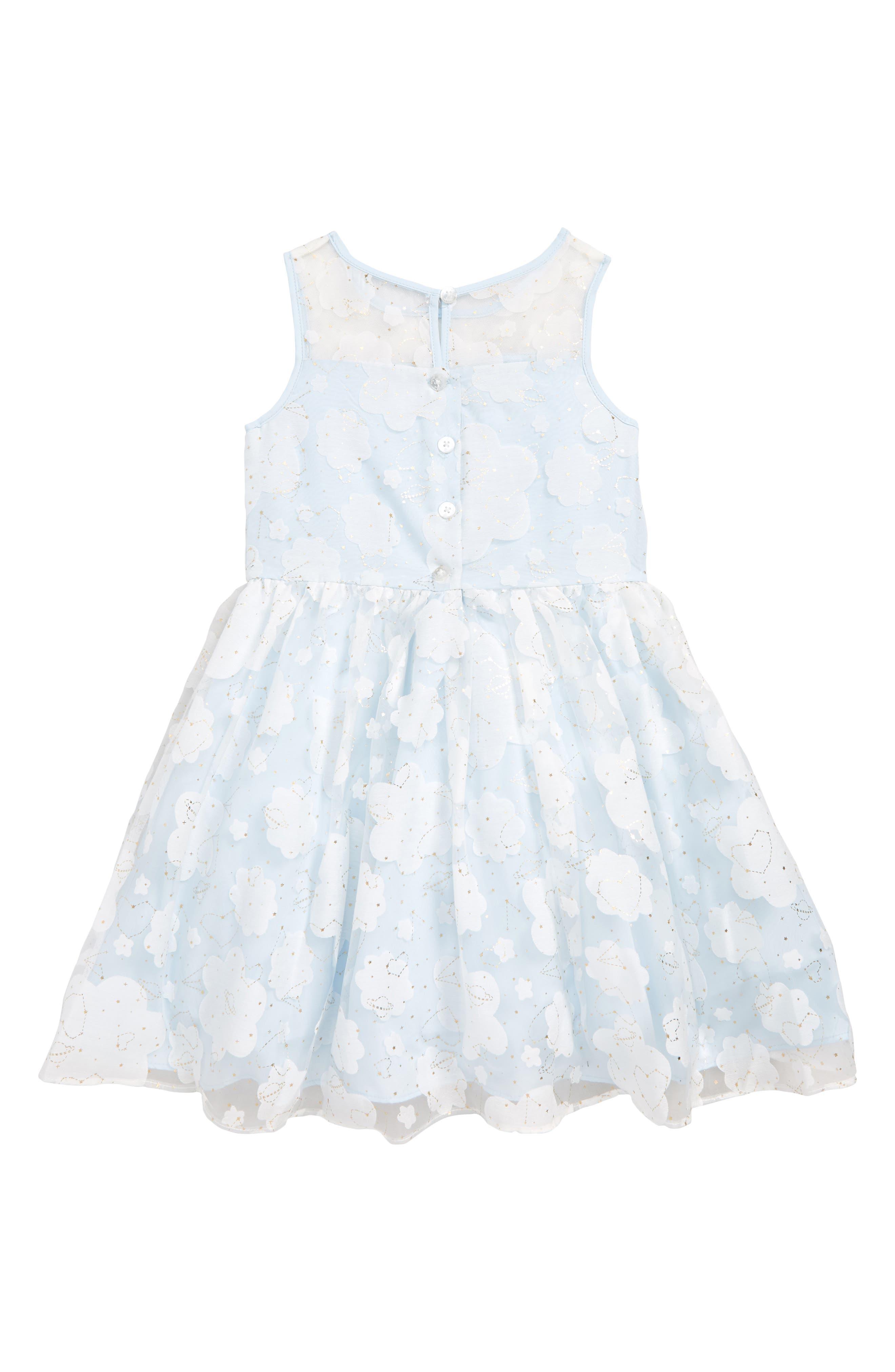 PIPPA & JULIE, Constellation Burnout Dress, Alternate thumbnail 2, color, WHITE/ GOLD