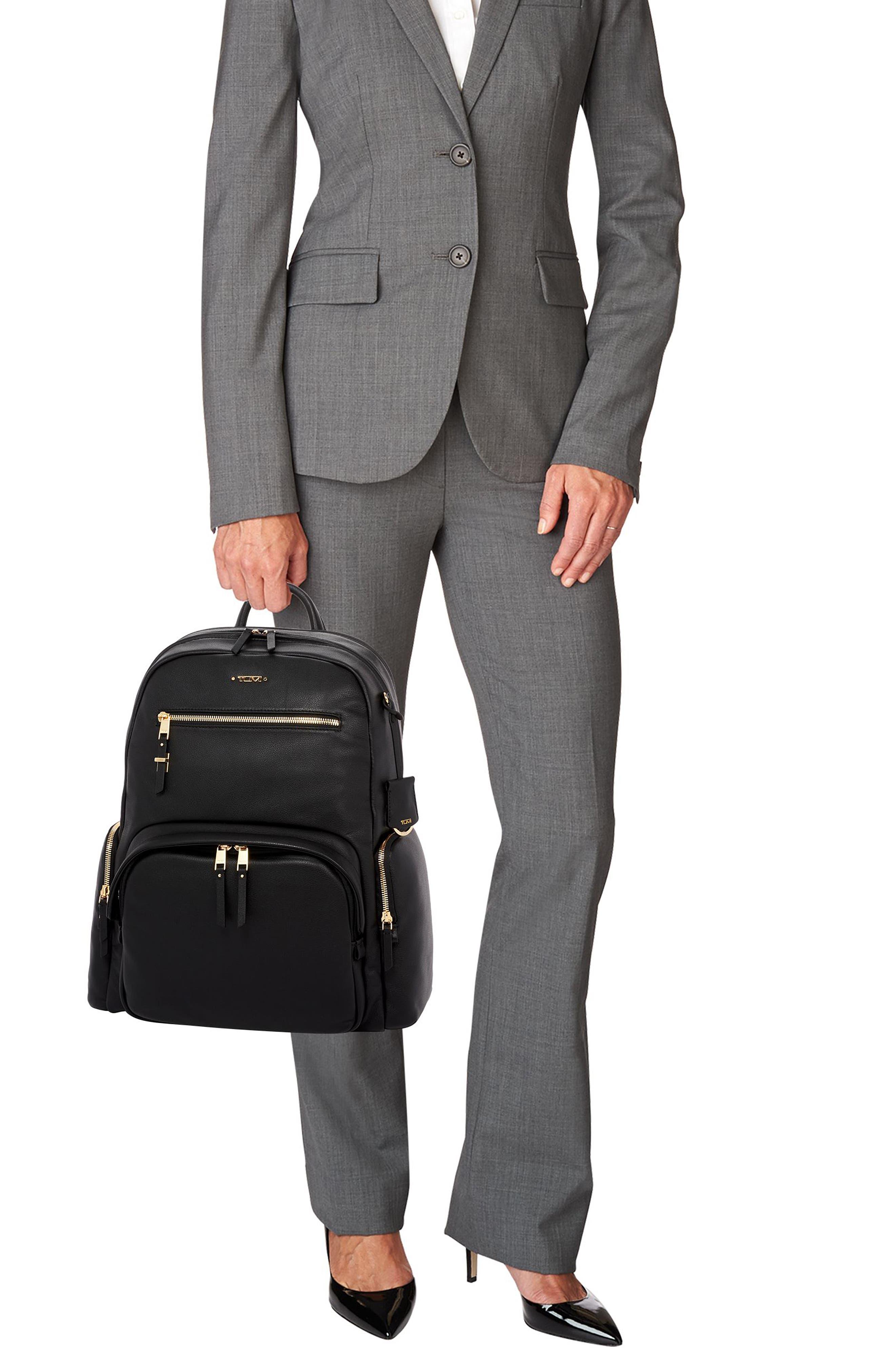 TUMI, Voyageur Carson Leather Backpack, Alternate thumbnail 2, color, BLACK