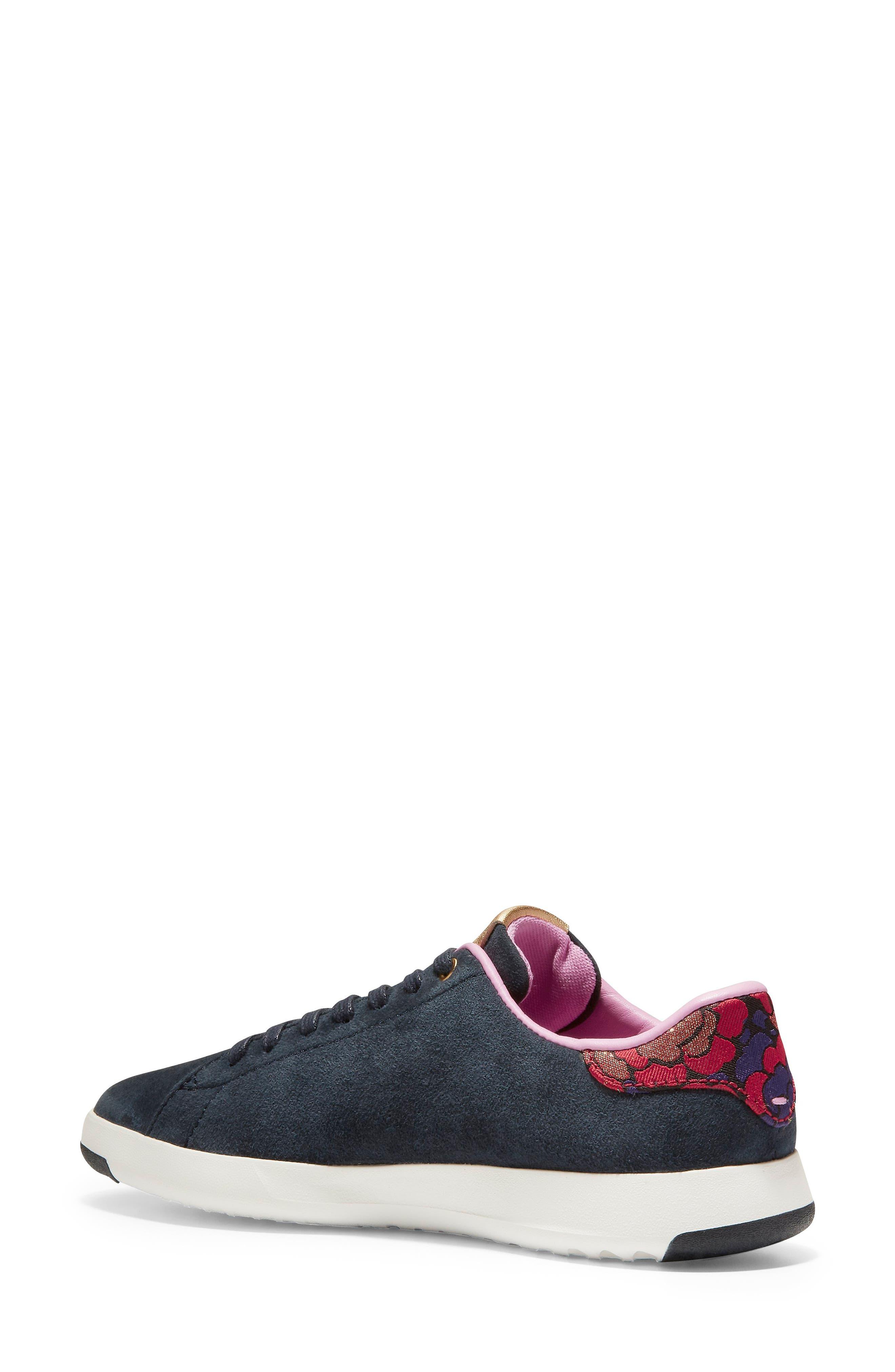 COLE HAAN, GrandPro Tennis Shoe, Alternate thumbnail 2, color, BLUEBERRY SUEDE
