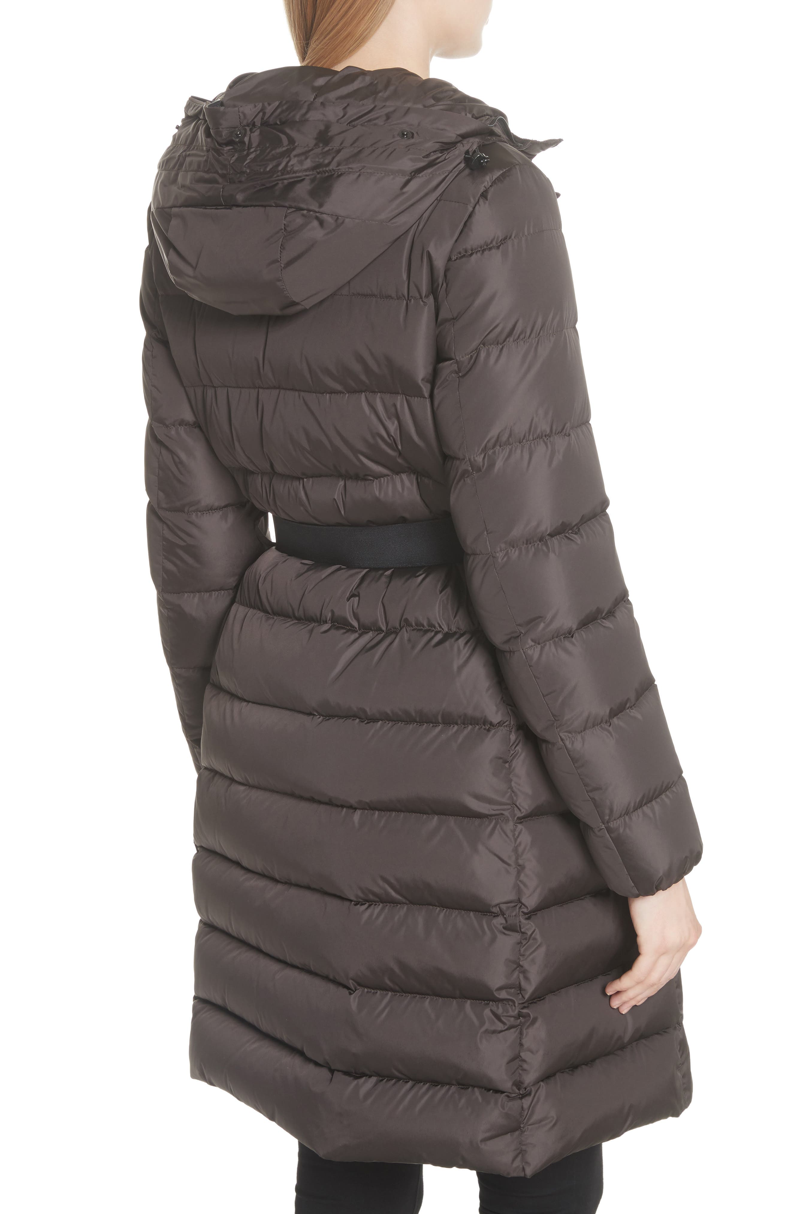 MONCLER, 'Khloe' Water Resistant Nylon Down Puffer Parka with Removable Genuine Fox Fur Trim, Alternate thumbnail 2, color, BROWN