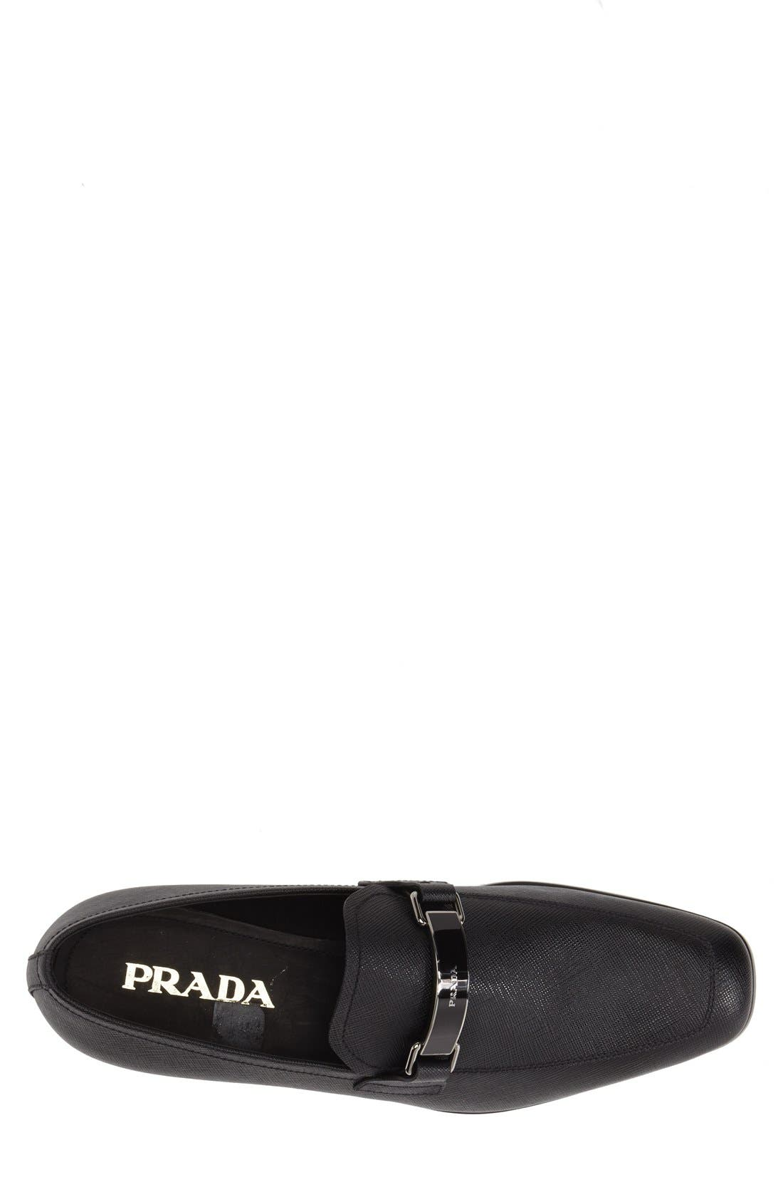 PRADA, Saffiano Leather Bit Loafer, Alternate thumbnail 3, color, NERO LEATHER
