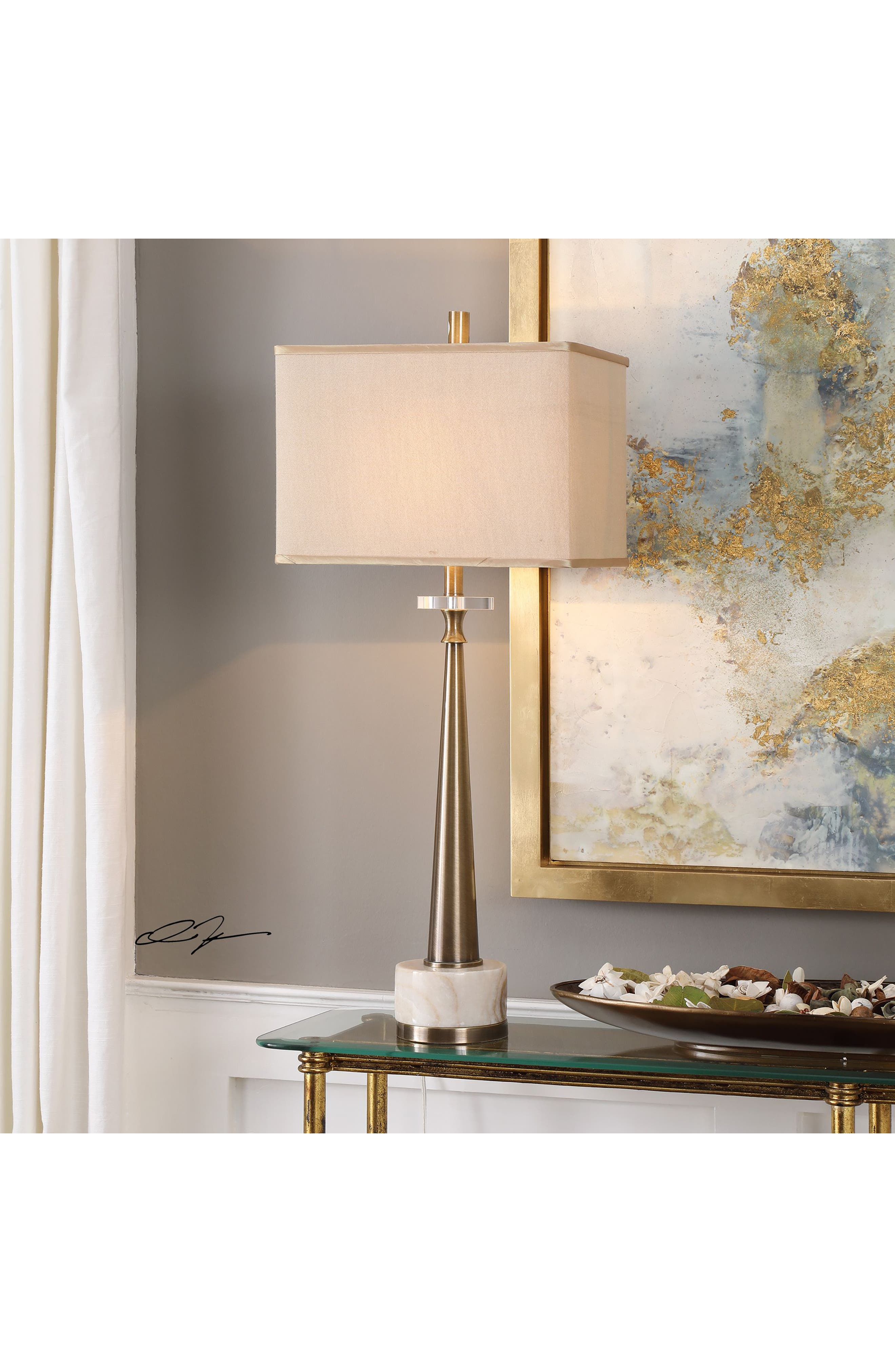 UTTERMOST, Verner Tapered Table Lamp, Alternate thumbnail 2, color, ANTIQUE BRASS/ IVORY SHADE
