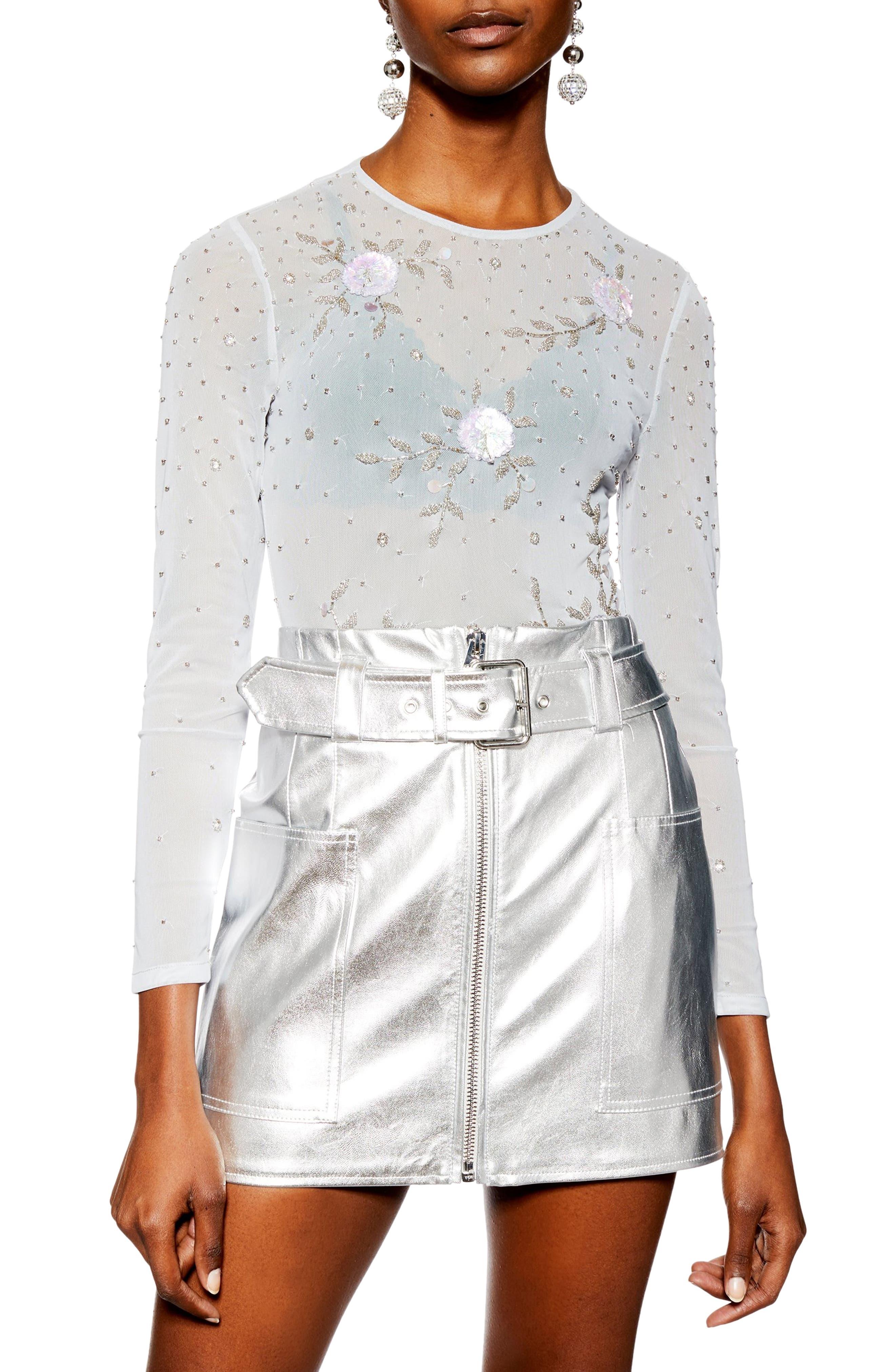 TOPSHOP Embellished Floral Bodysuit, Main, color, 100