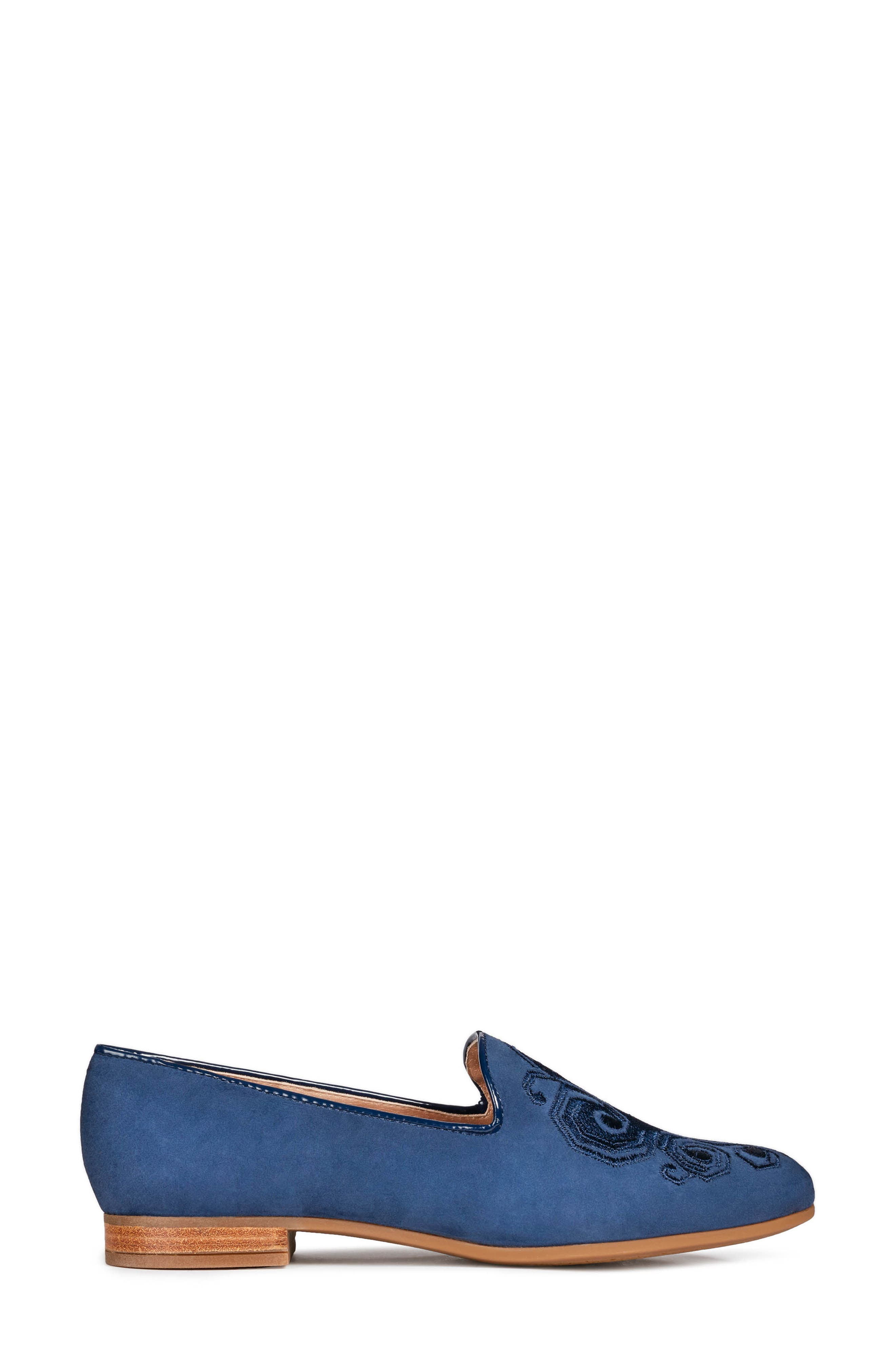 GEOX, Marlyna Loafer, Alternate thumbnail 3, color, BLUE SUEDE