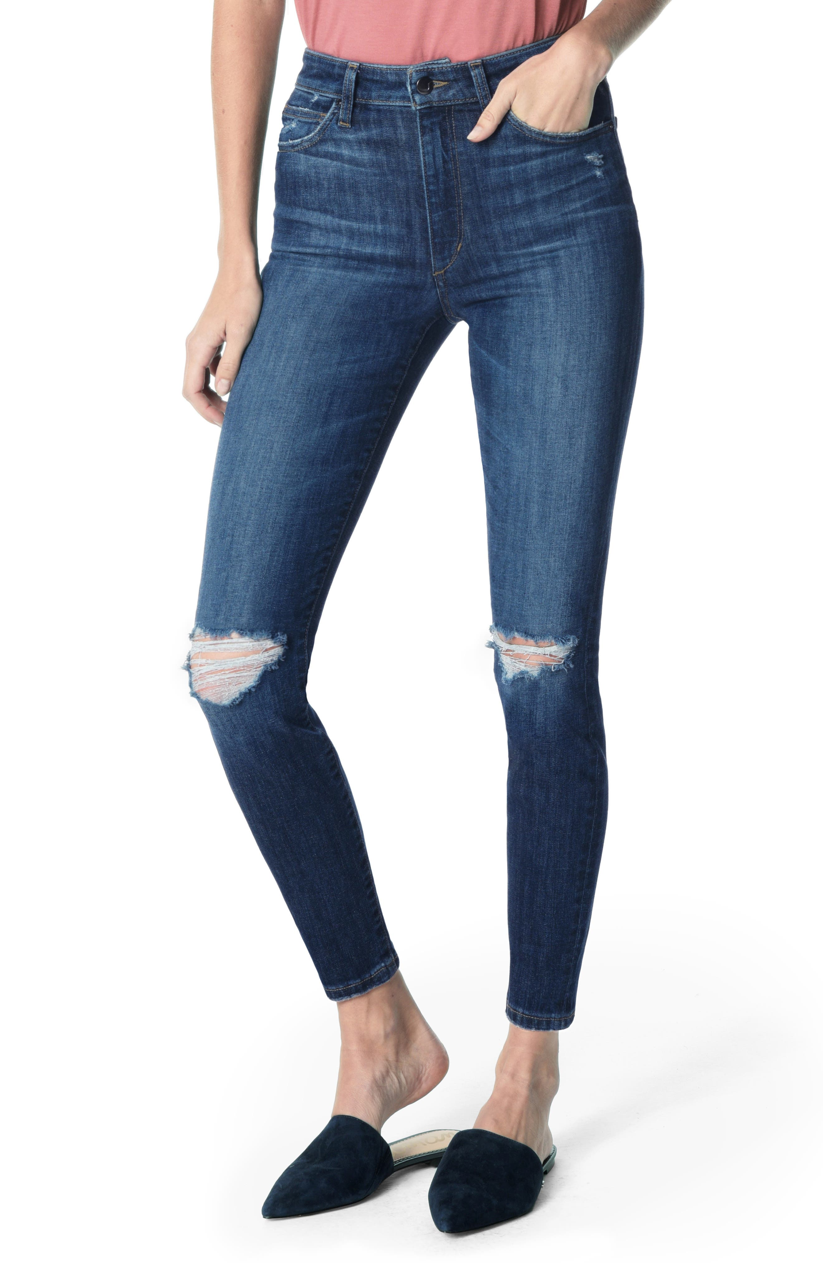 JOE'S, Charlie Ripped High Waist Ankle Skinny Jeans, Main thumbnail 1, color, ETTIE