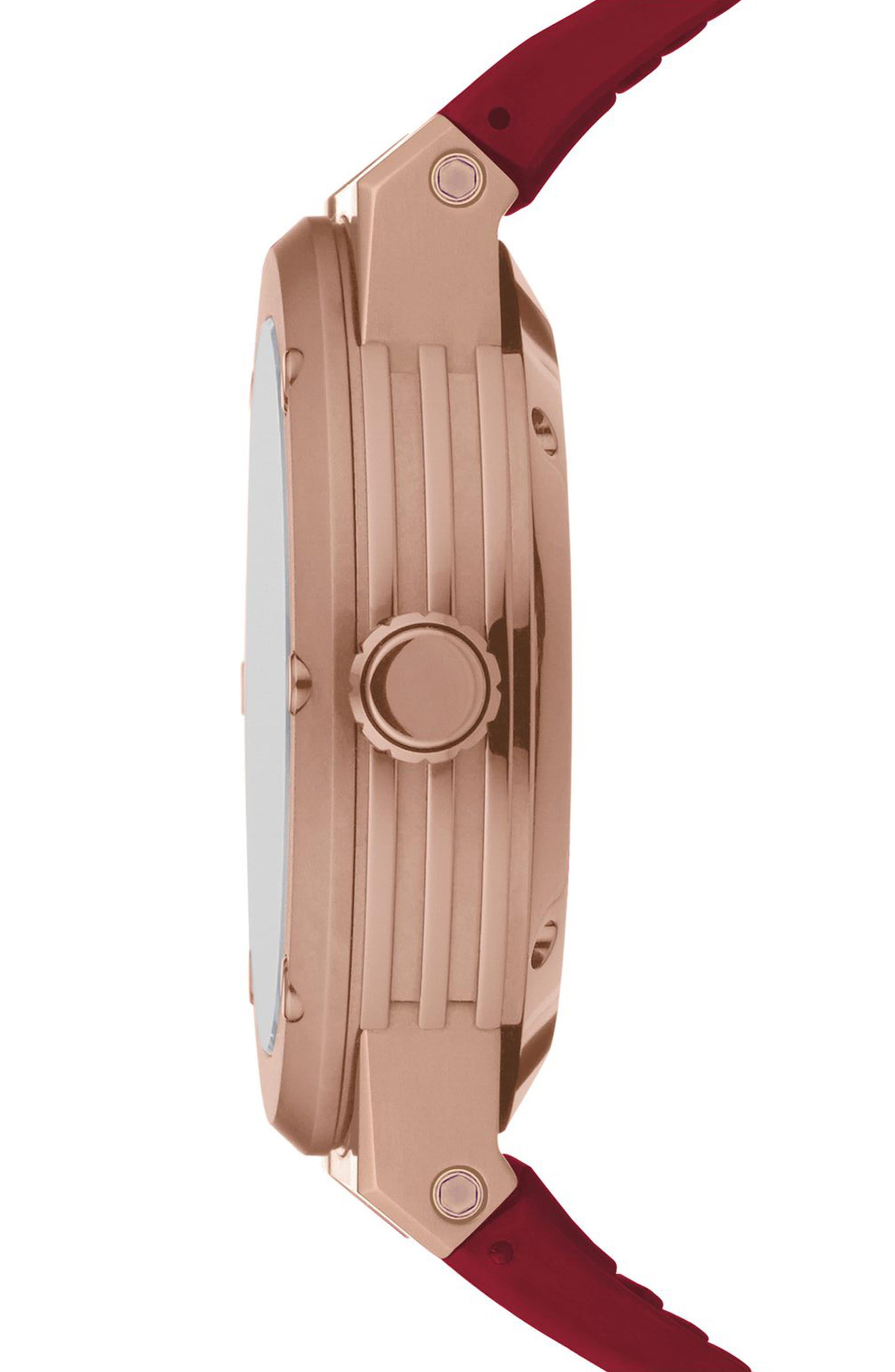 SALVATORE FERRAGAMO, F-80 Motion Rubber Strap Smart Watch, 44mm, Alternate thumbnail 2, color, BURGUNDY/ WHITE MOP/ ROSE GOLD