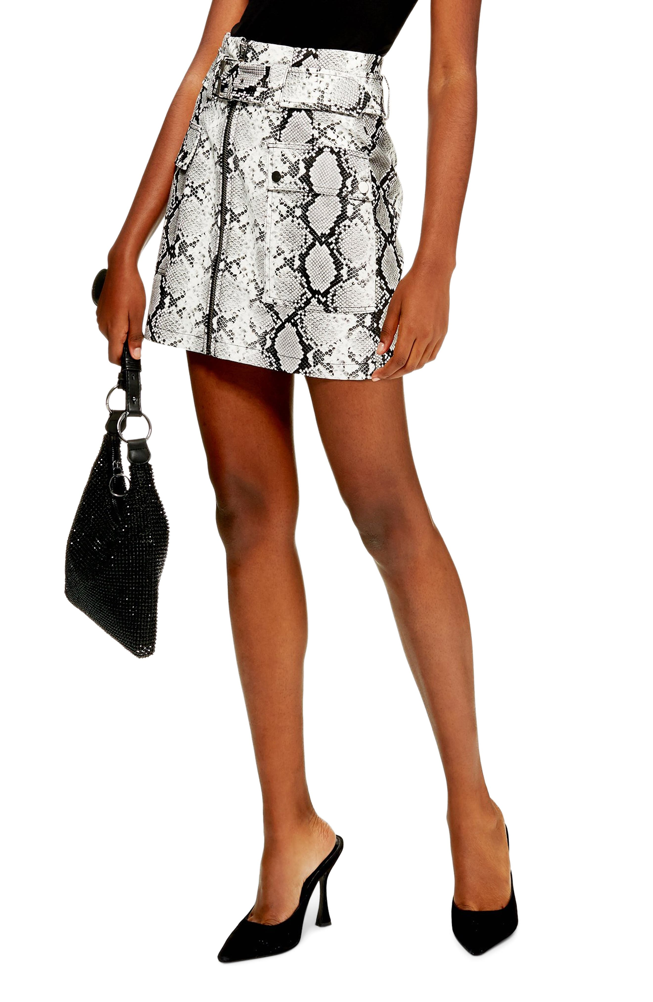 TOPSHOP Belted Faux Leather Snake Print Miniskirt, Main, color, 100