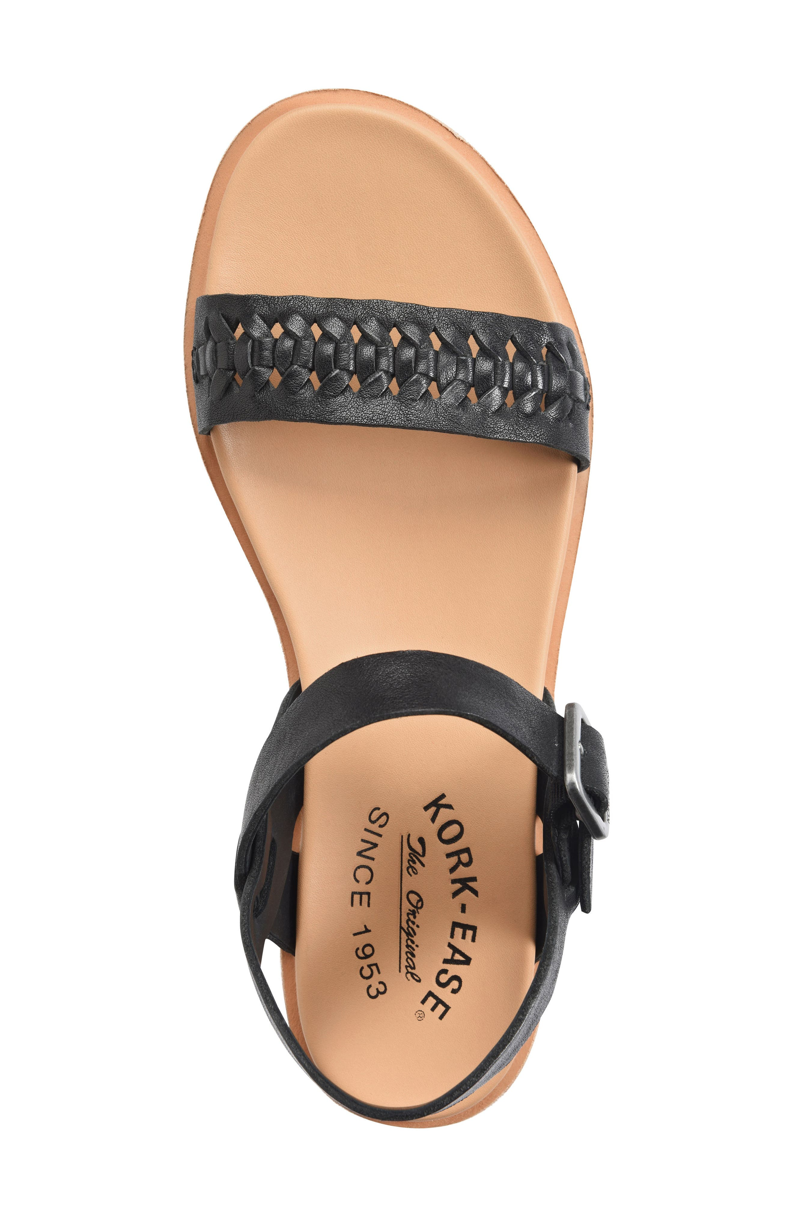 KORK-EASE<SUP>®</SUP>, Yucca Braid Sandal, Alternate thumbnail 5, color, BLACK LEATHER