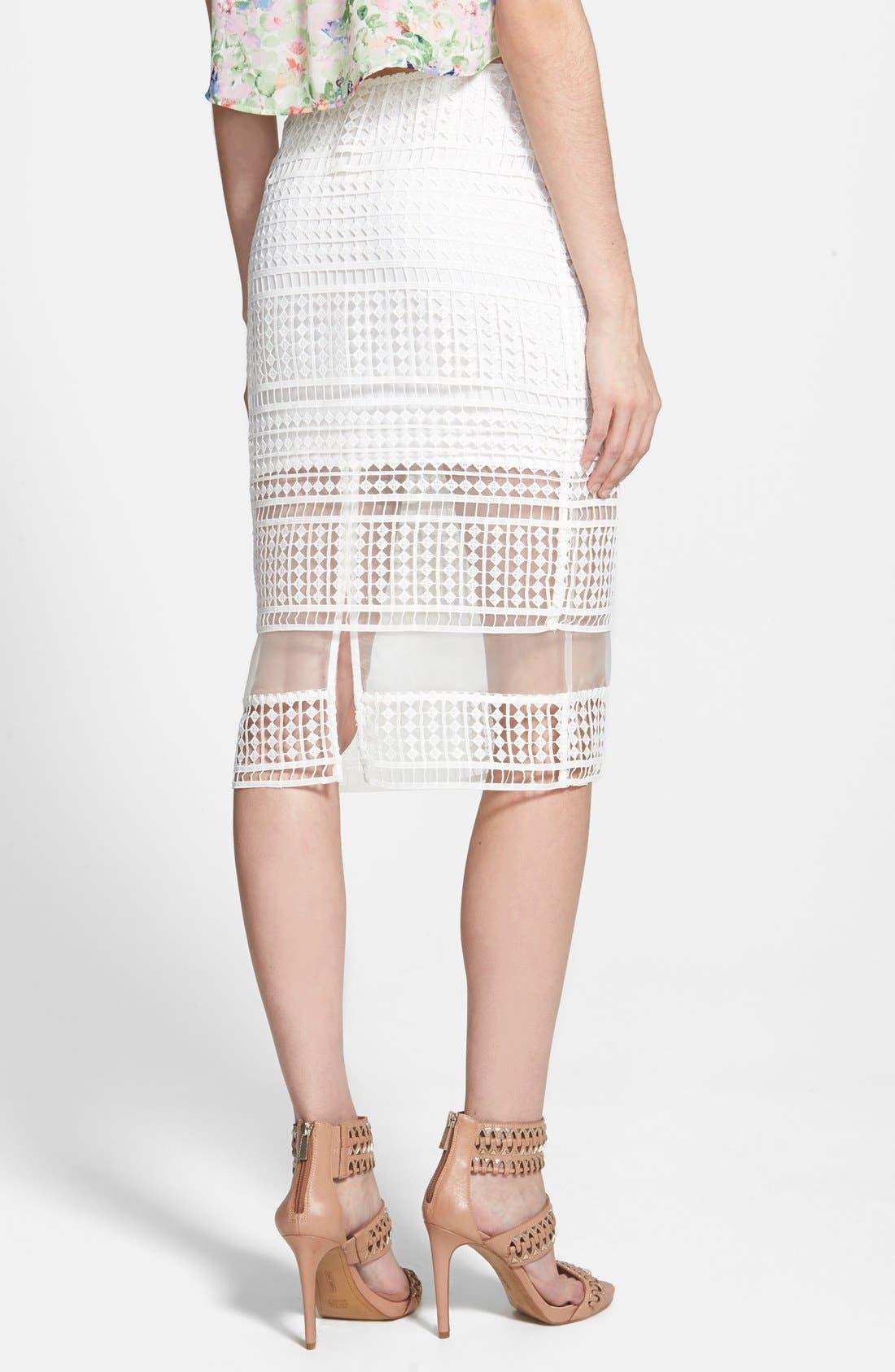 J.O.A., Lace Overlay Pencil Skirt, Alternate thumbnail 3, color, 900