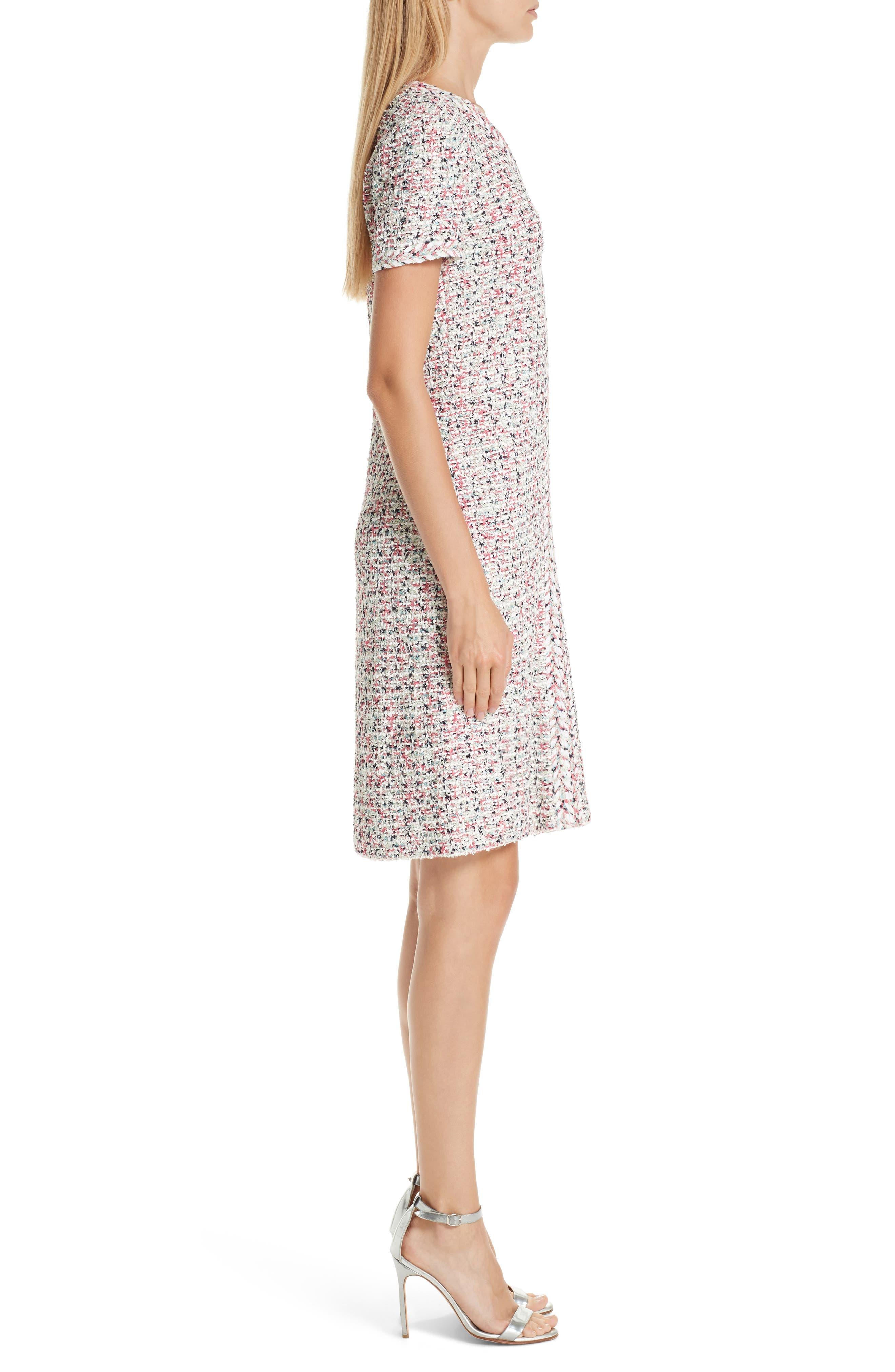 ST. JOHN COLLECTION, Modern Knit Dress, Alternate thumbnail 4, color, CREAM MULTI