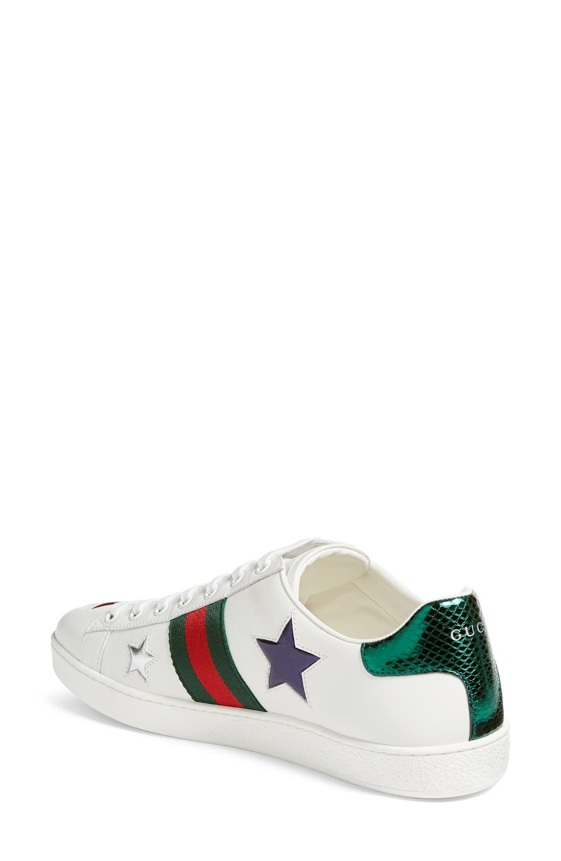 GUCCI, New Ace Star Sneaker, Alternate thumbnail 5, color, WHITE MULTI