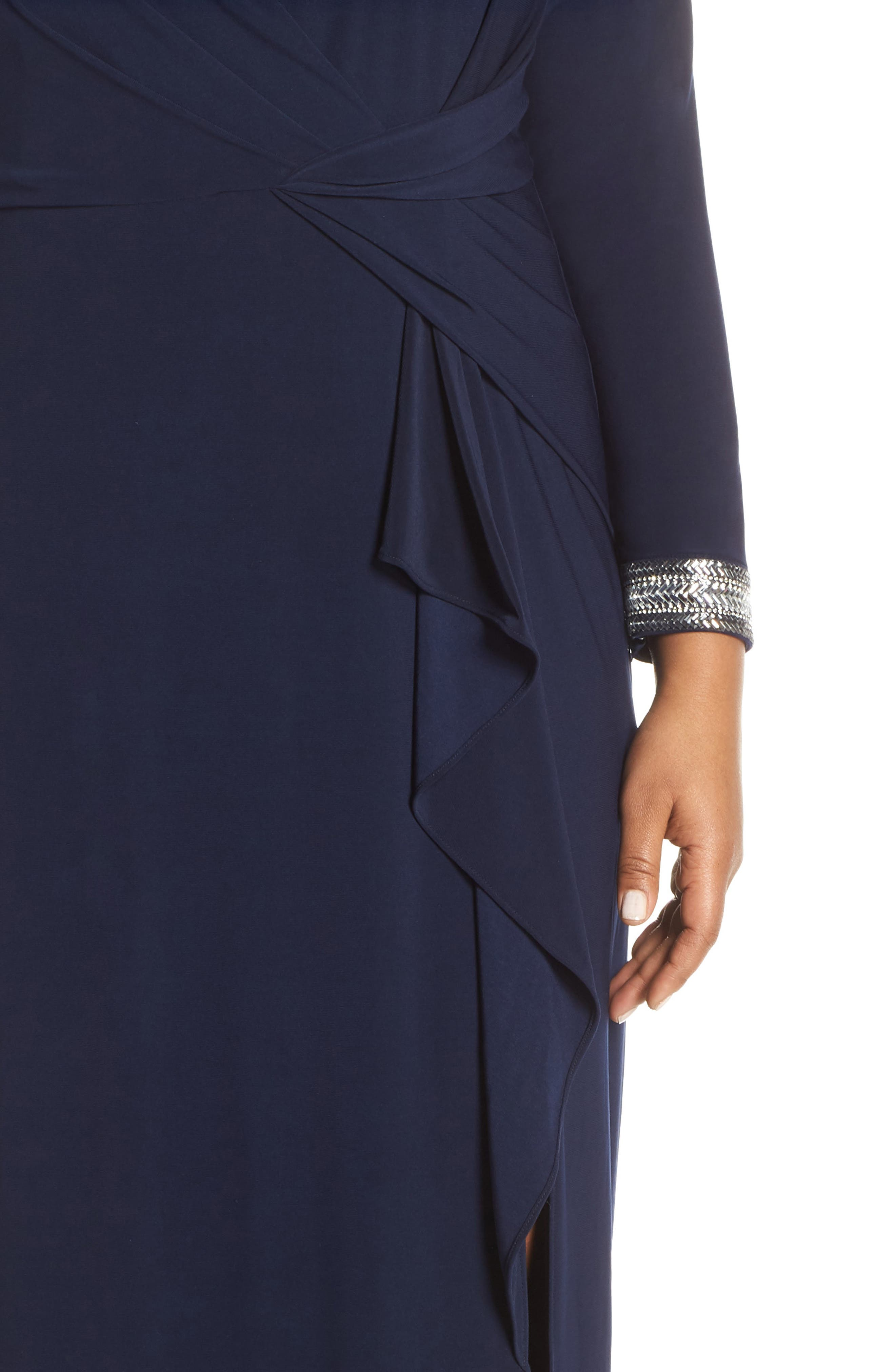 VINCE CAMUTO, Beaded Cuff Ruched Jersey Gown, Alternate thumbnail 5, color, NAVY