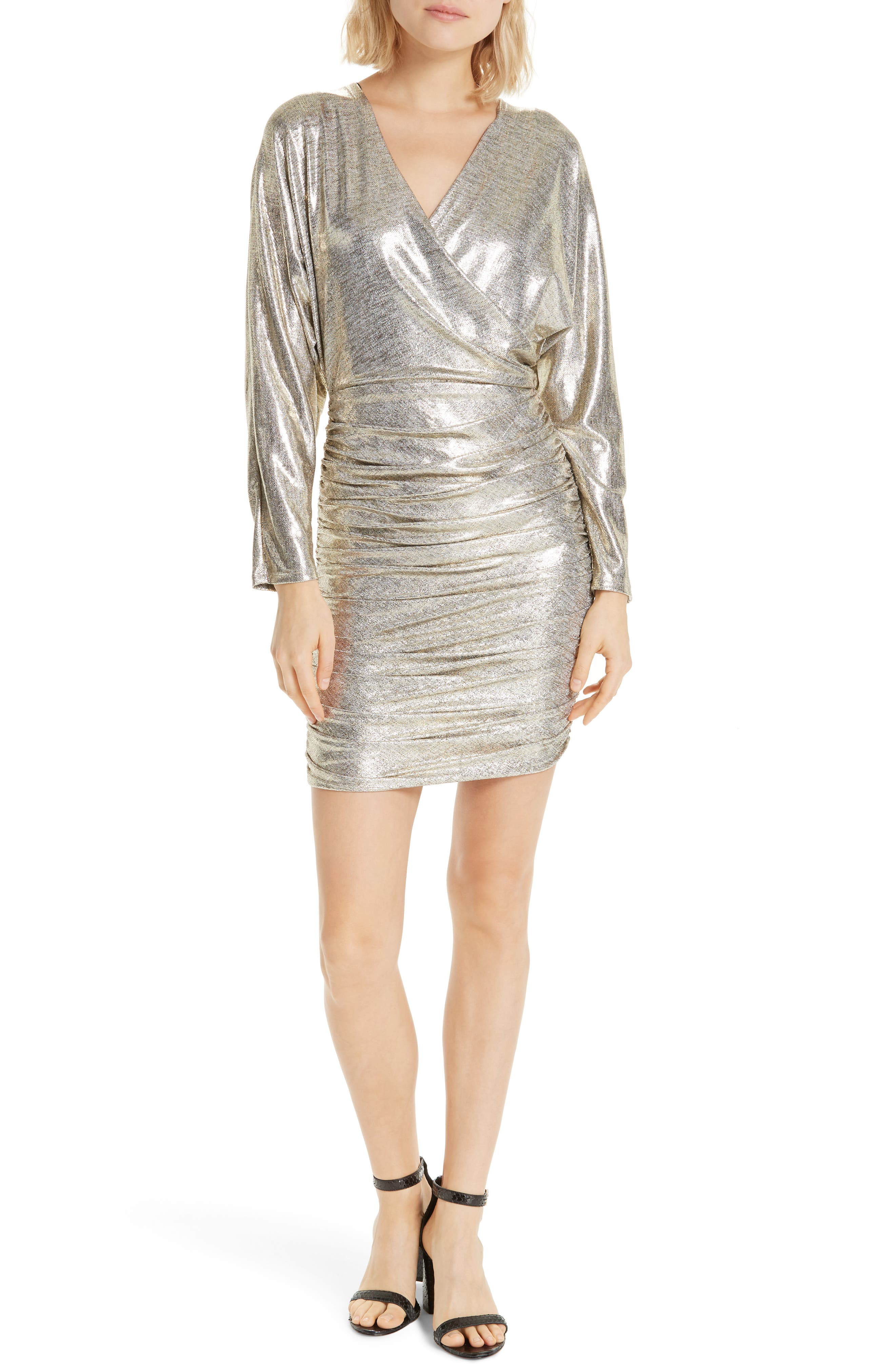 ALICE + OLIVIA Pace Batwing Sleeve Party Dress, Main, color, SILVER