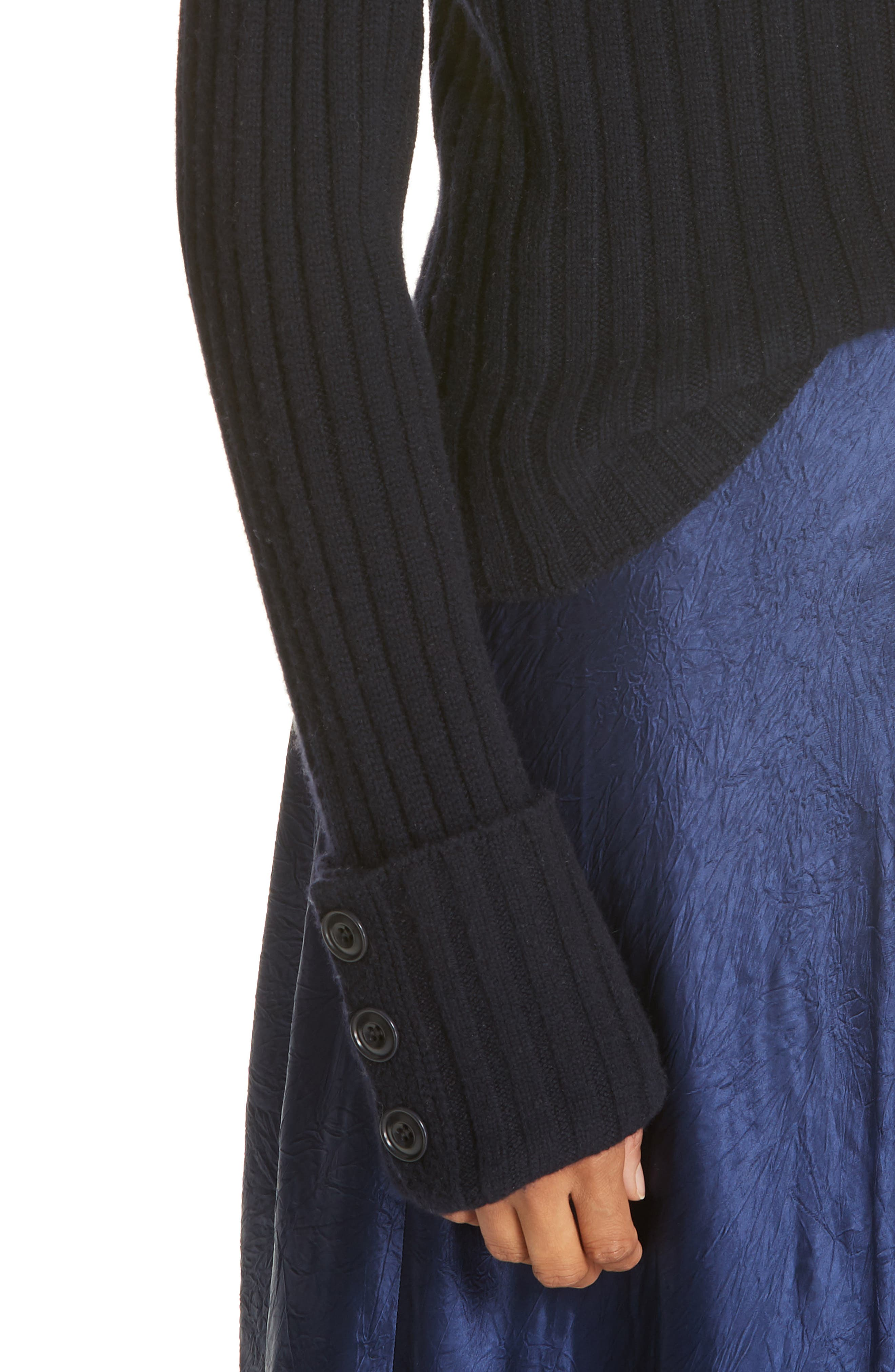 VINCE, Button Cuff Wool & Cashmere Sweater, Alternate thumbnail 4, color, 403