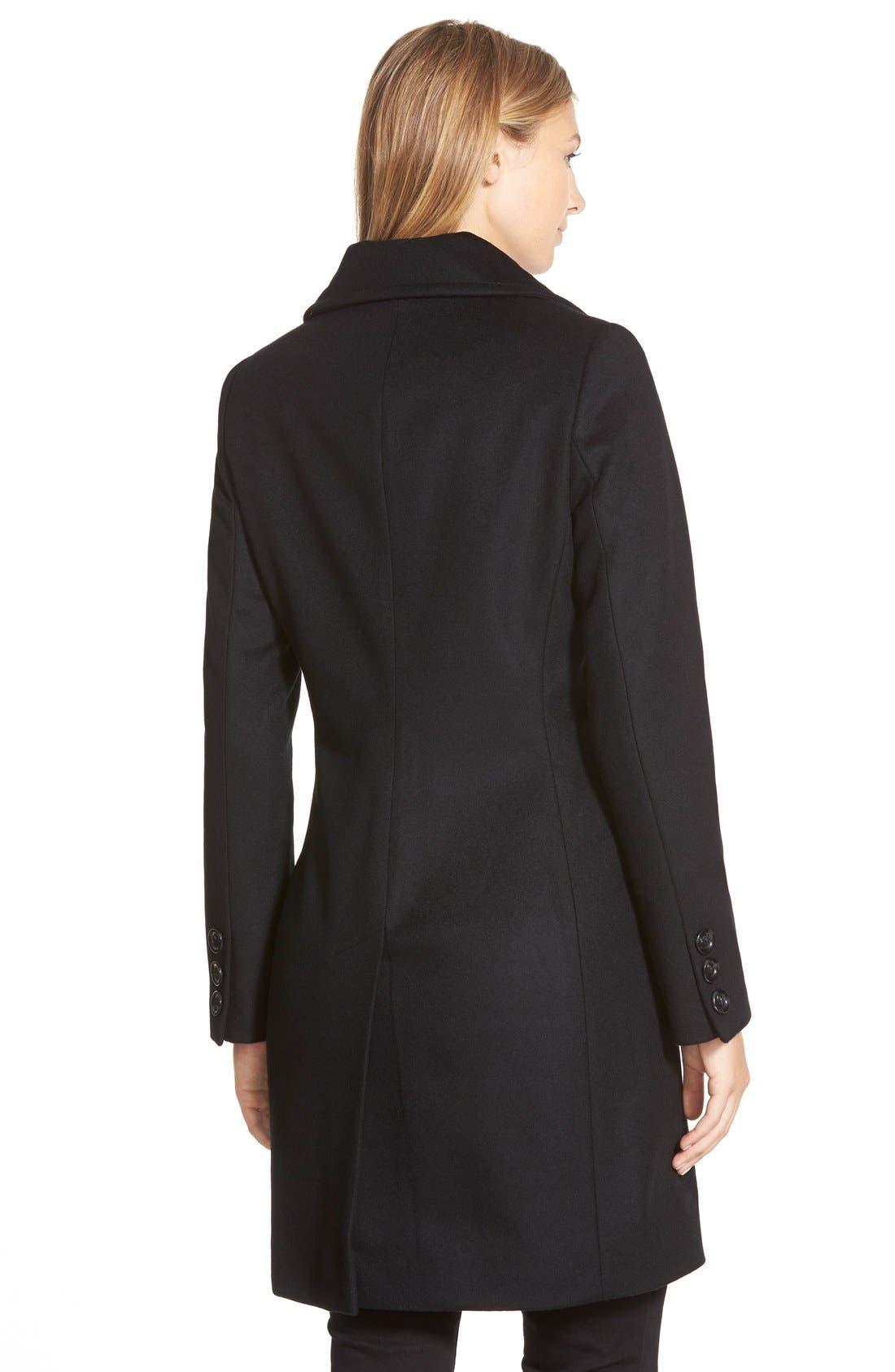 KRISTEN BLAKE, Single Breasted Wool Blend Coat, Alternate thumbnail 2, color, 001