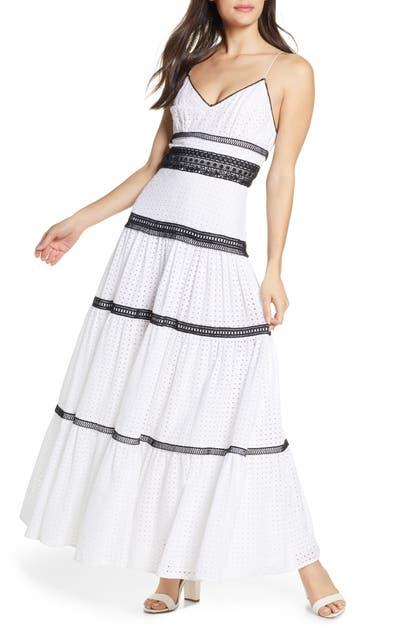 Jill Jill Stuart Dresses BLACK & WHITE COTTON EYELET MAXI DRESS