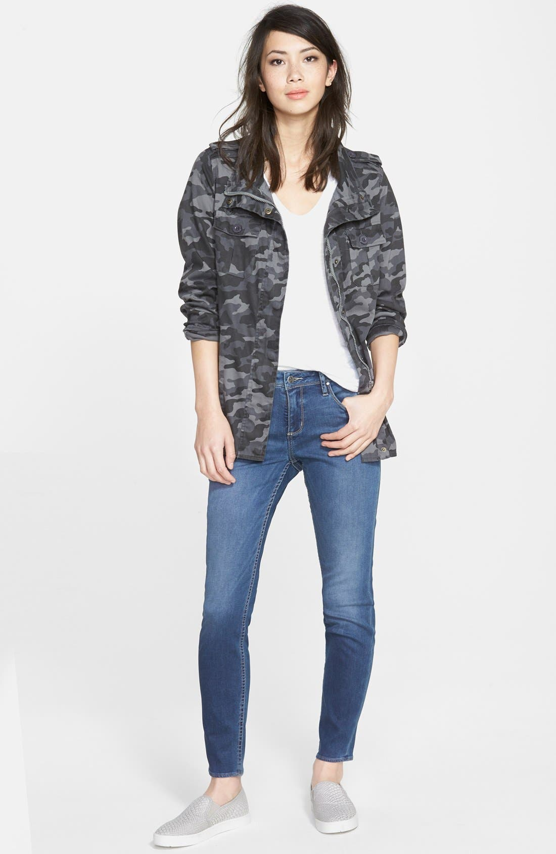 PRESS, Lightweight Stretch Cotton Military Jacket, Alternate thumbnail 2, color, 021
