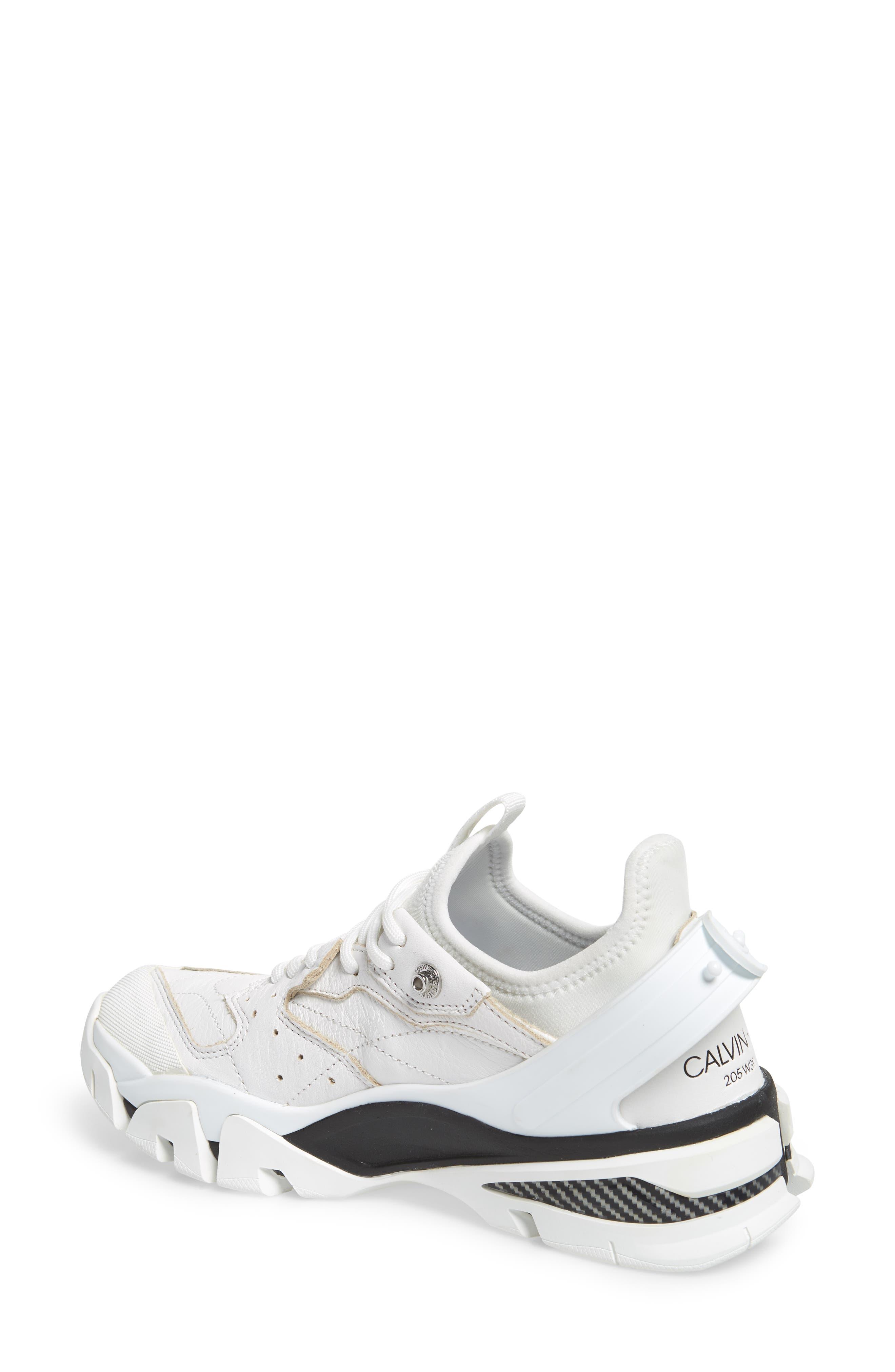 CALVIN KLEIN, 205W39NYC Carla Sneaker, Alternate thumbnail 2, color, WHITE/ BLACK/ BLACK