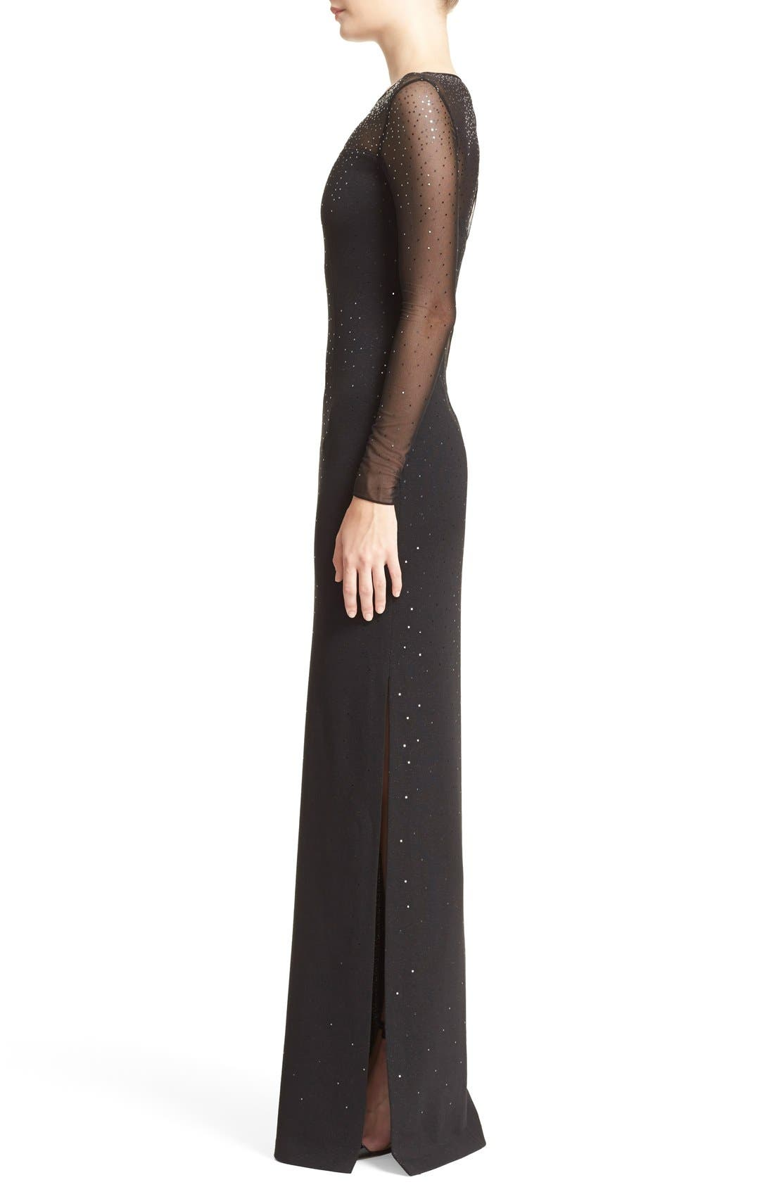 ST. JOHN COLLECTION, Embellished Shimmer Milano Knit Gown, Alternate thumbnail 6, color, 001