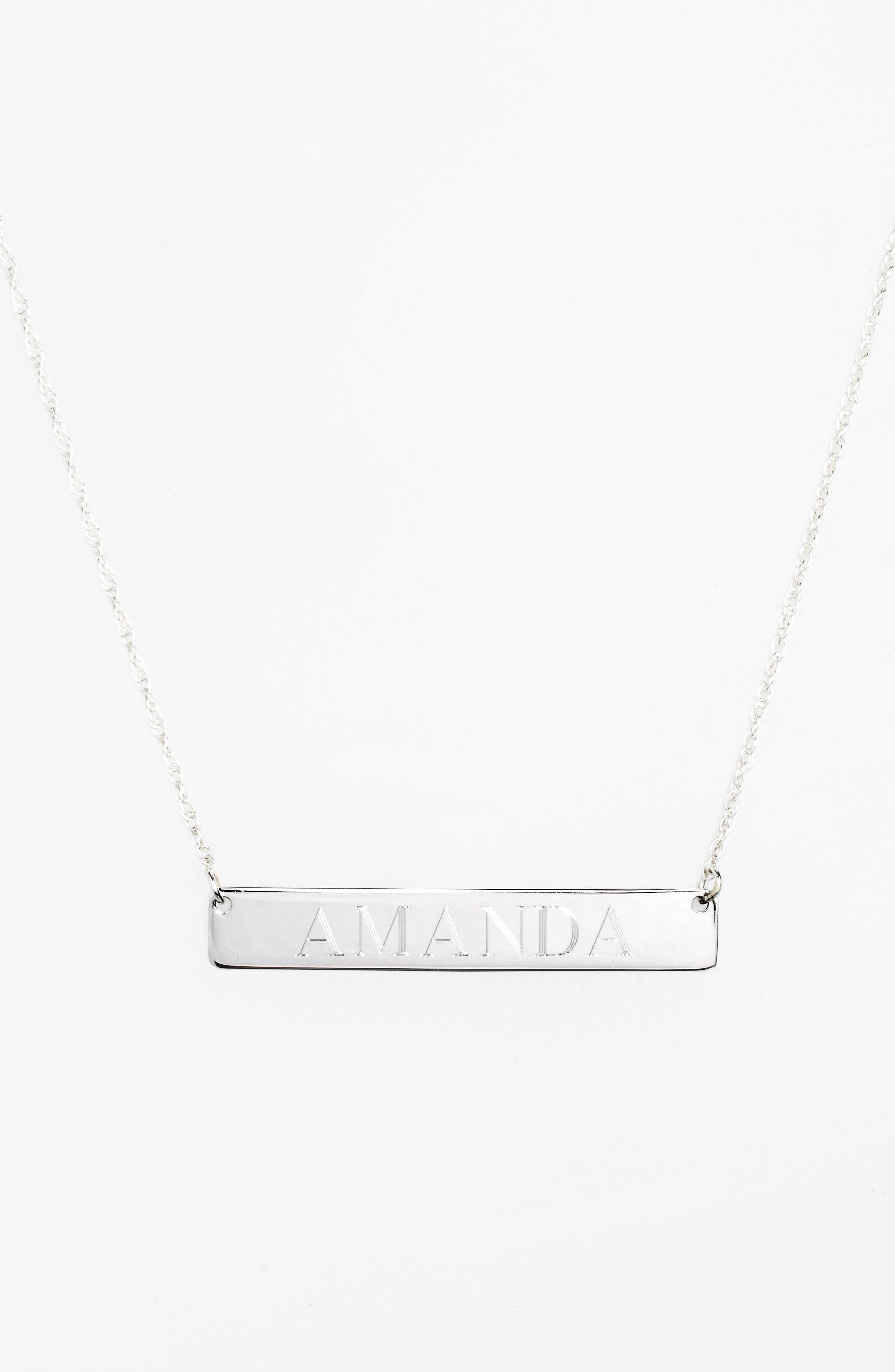 JANE BASCH DESIGNS, Personalized Bar Pendant Necklace, Alternate thumbnail 2, color, SILVER