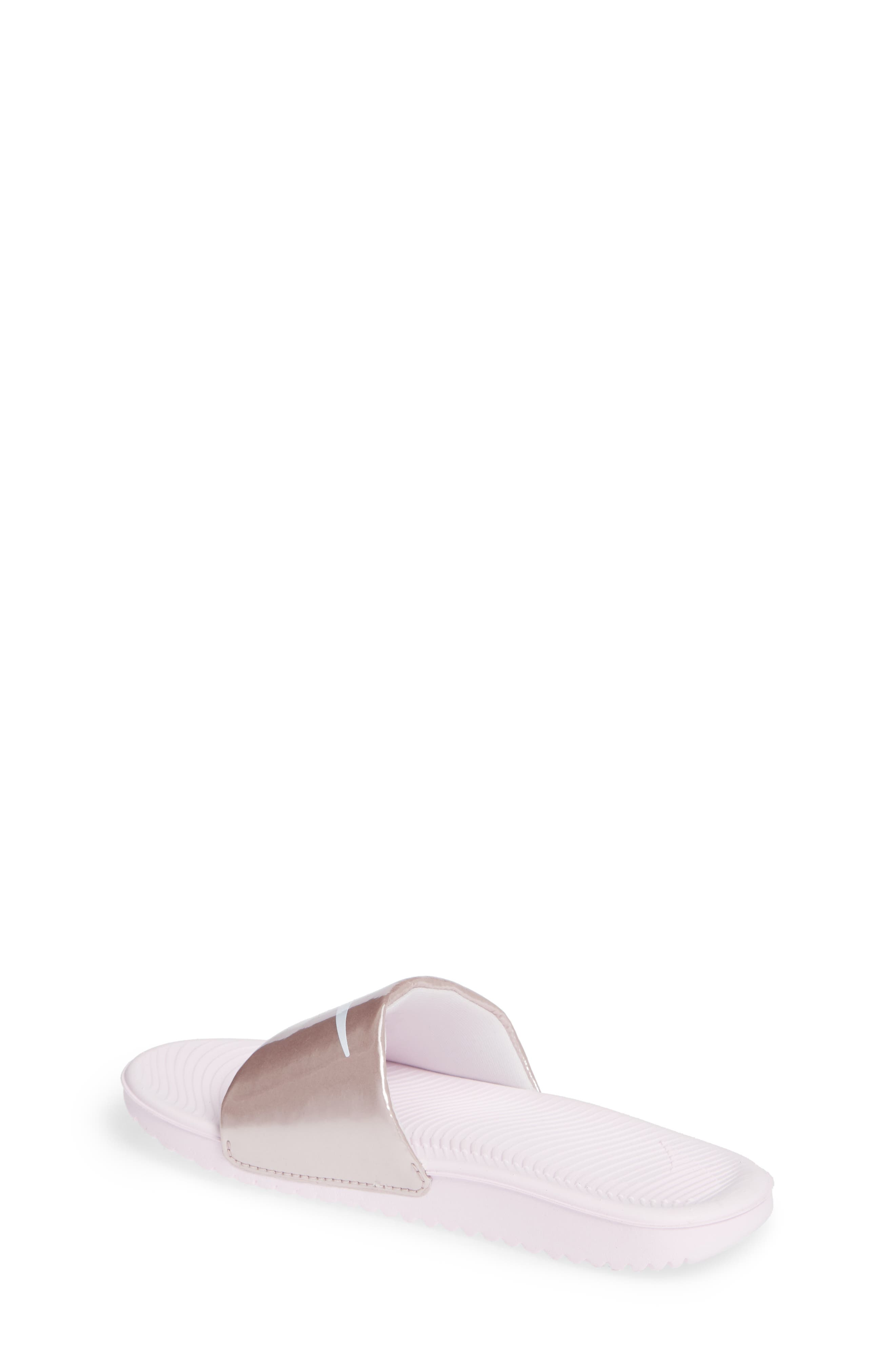 NIKE, 'Kawa' Slide Sandal, Alternate thumbnail 2, color, ARCTIC PINK/ WHITE/ RED BRONZE