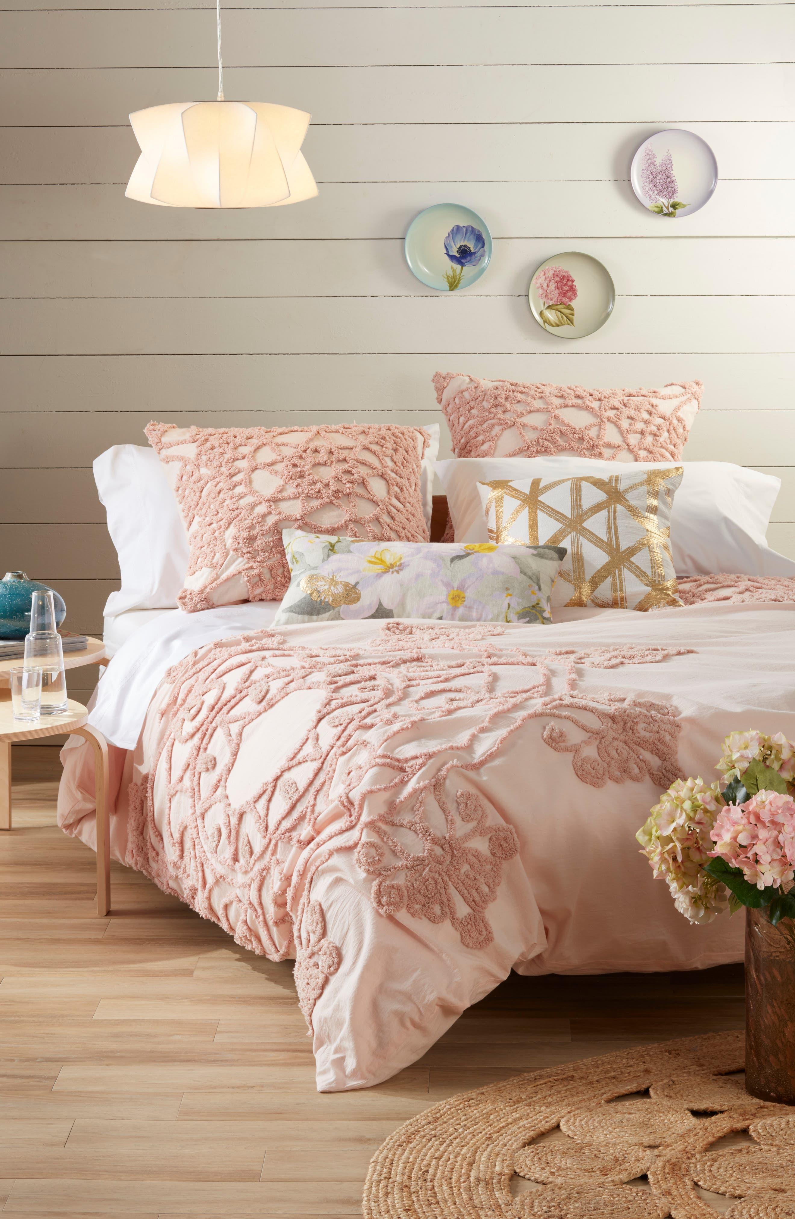 NORDSTROM AT HOME, Floral Linen Accent Pillow, Alternate thumbnail 5, color, GREY VAPOR MULTI