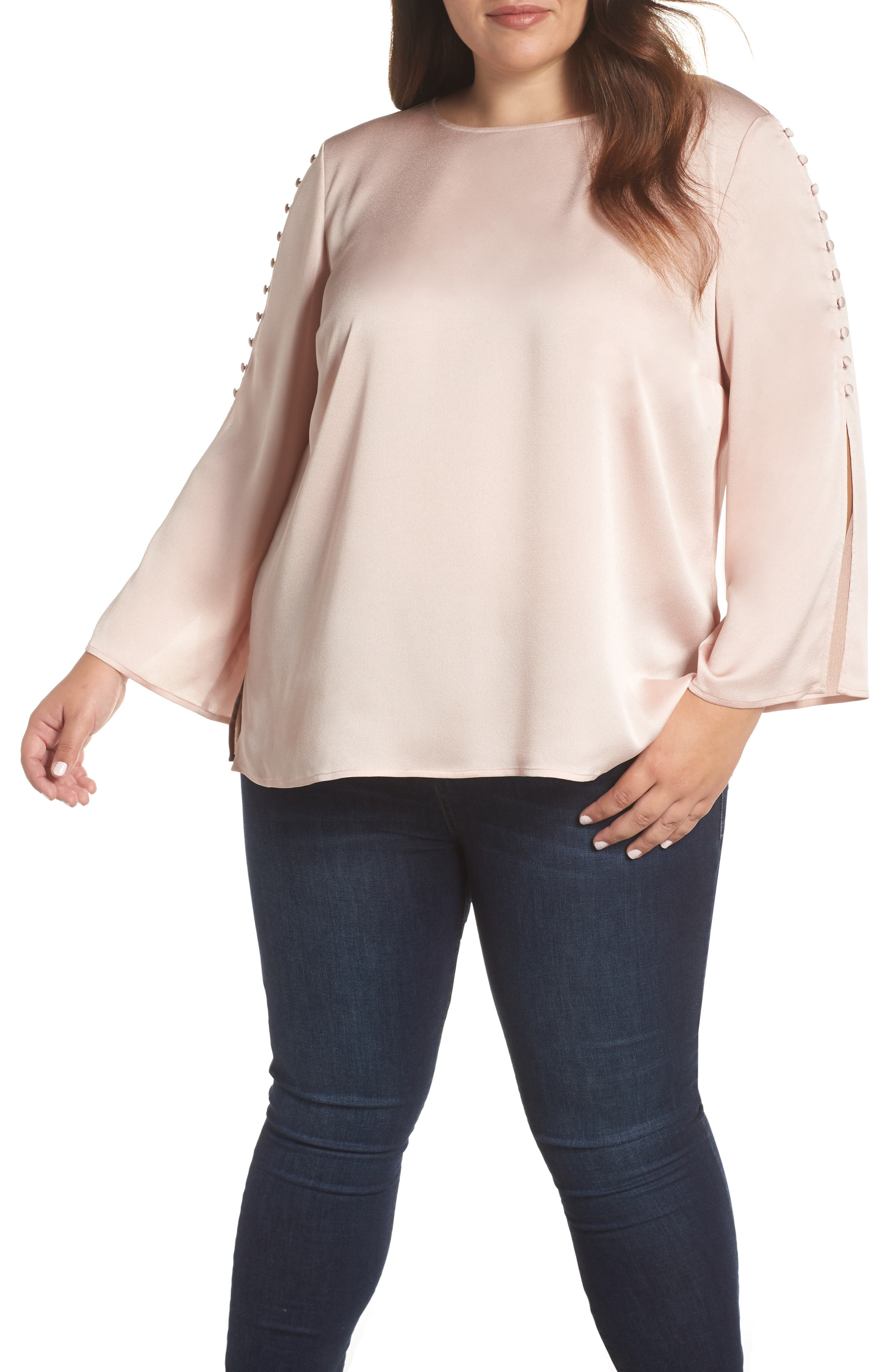 VINCE CAMUTO, Button Bell Sleeve Blouse, Main thumbnail 1, color, ROSE BUFF