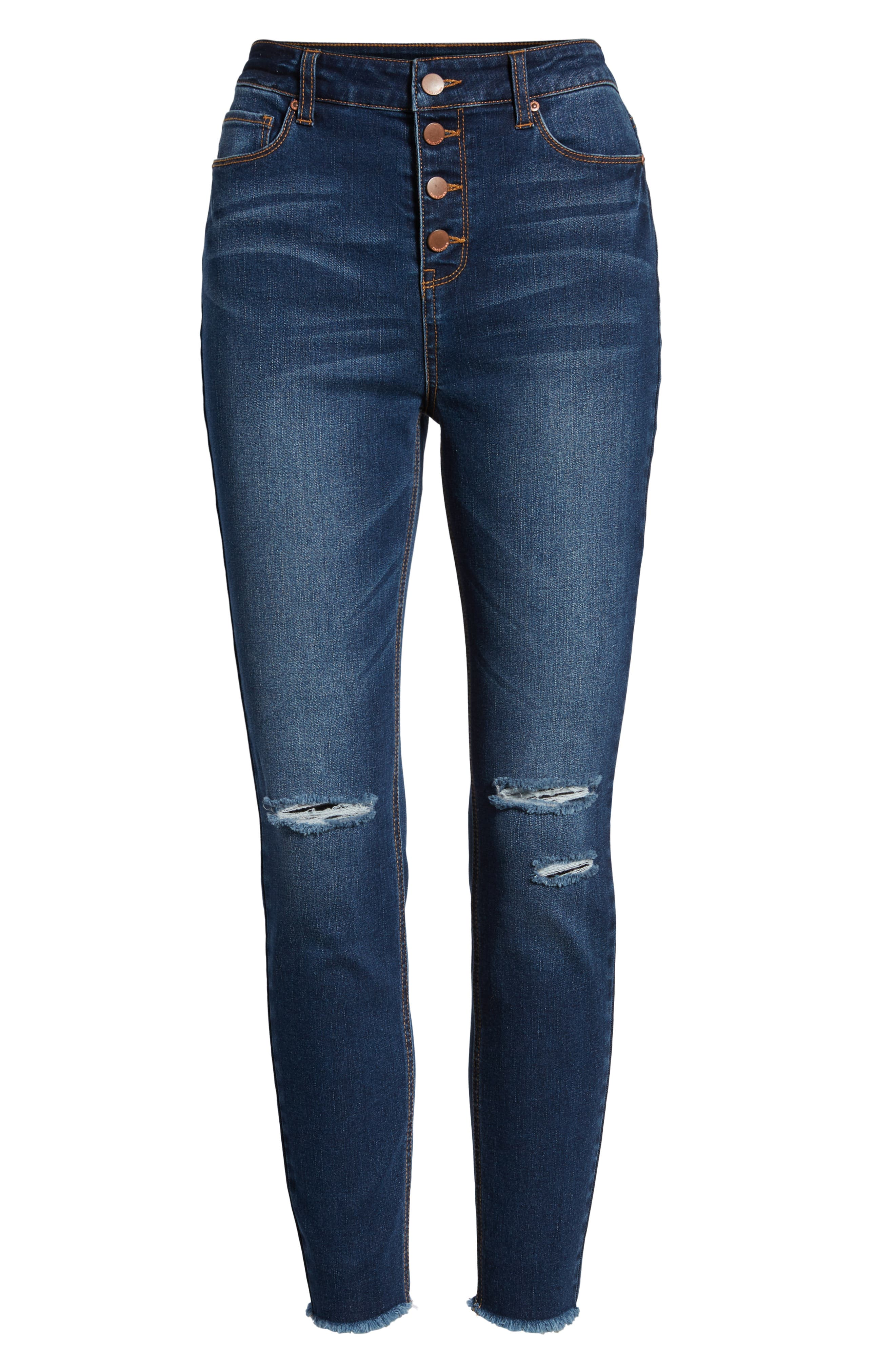 TINSEL, Ripped High Waist Ankle Skinny Jeans, Alternate thumbnail 7, color, DARK WASH