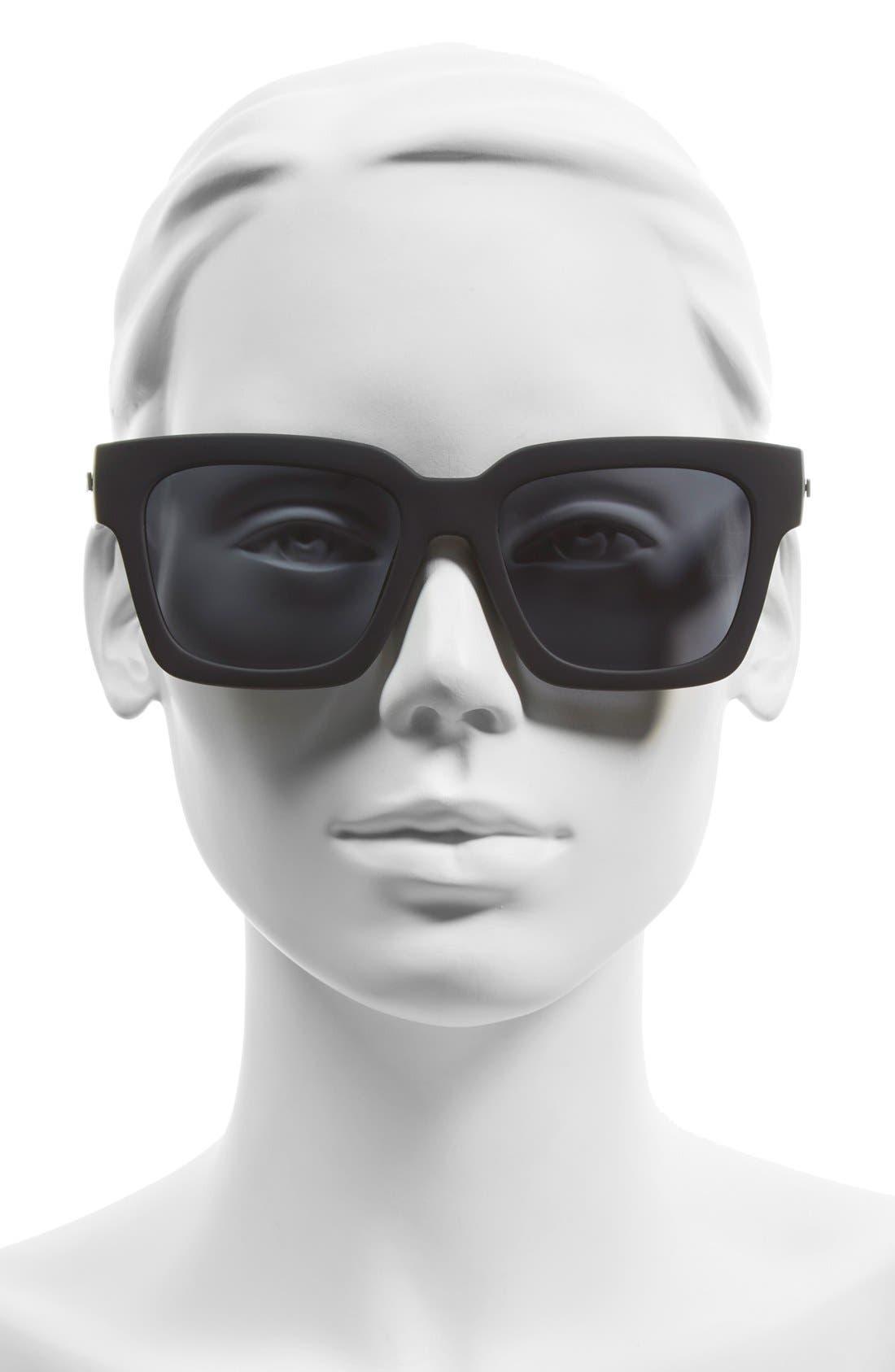 LE SPECS, 'Weekend Riot' 55mm Sunglasses, Alternate thumbnail 2, color, BLACK RUBBER/ SMOKE MONO POLAR