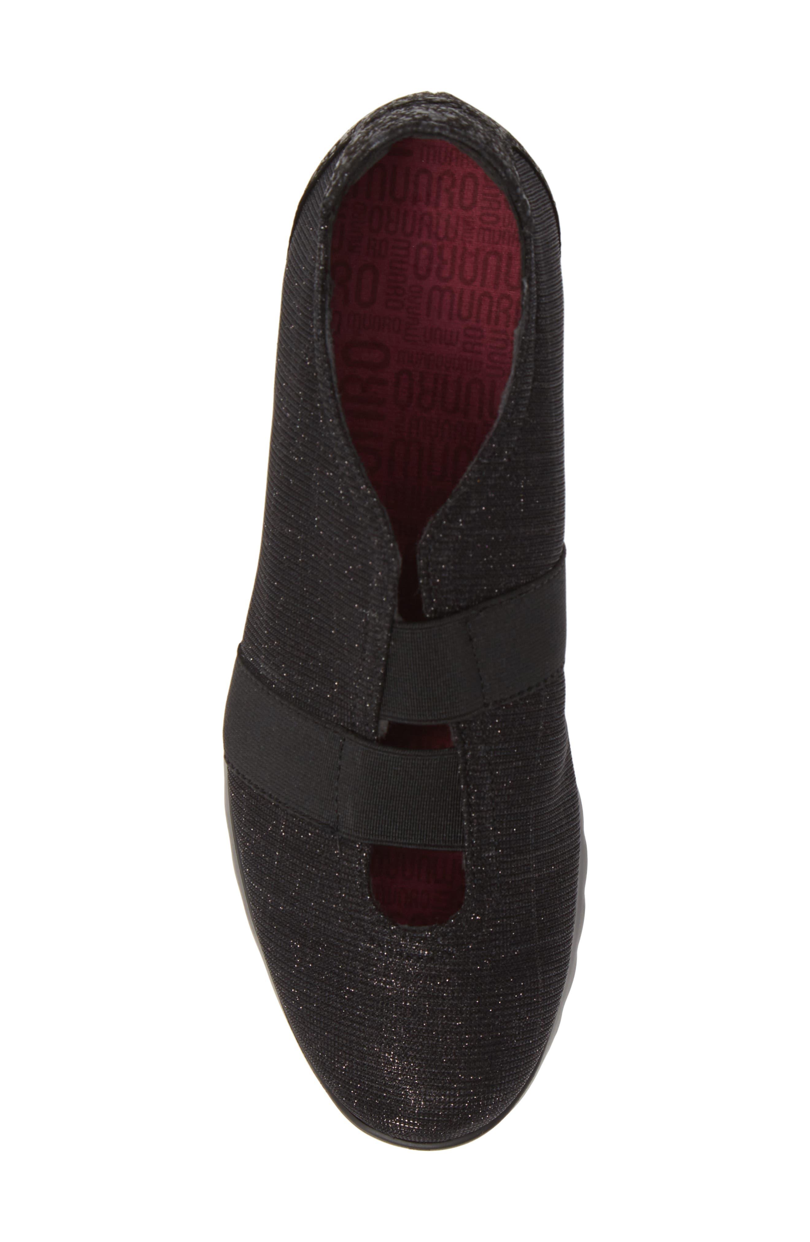 MUNRO, Alta Slip-On Sneaker, Alternate thumbnail 5, color, BLACK SPARKLE FABRIC