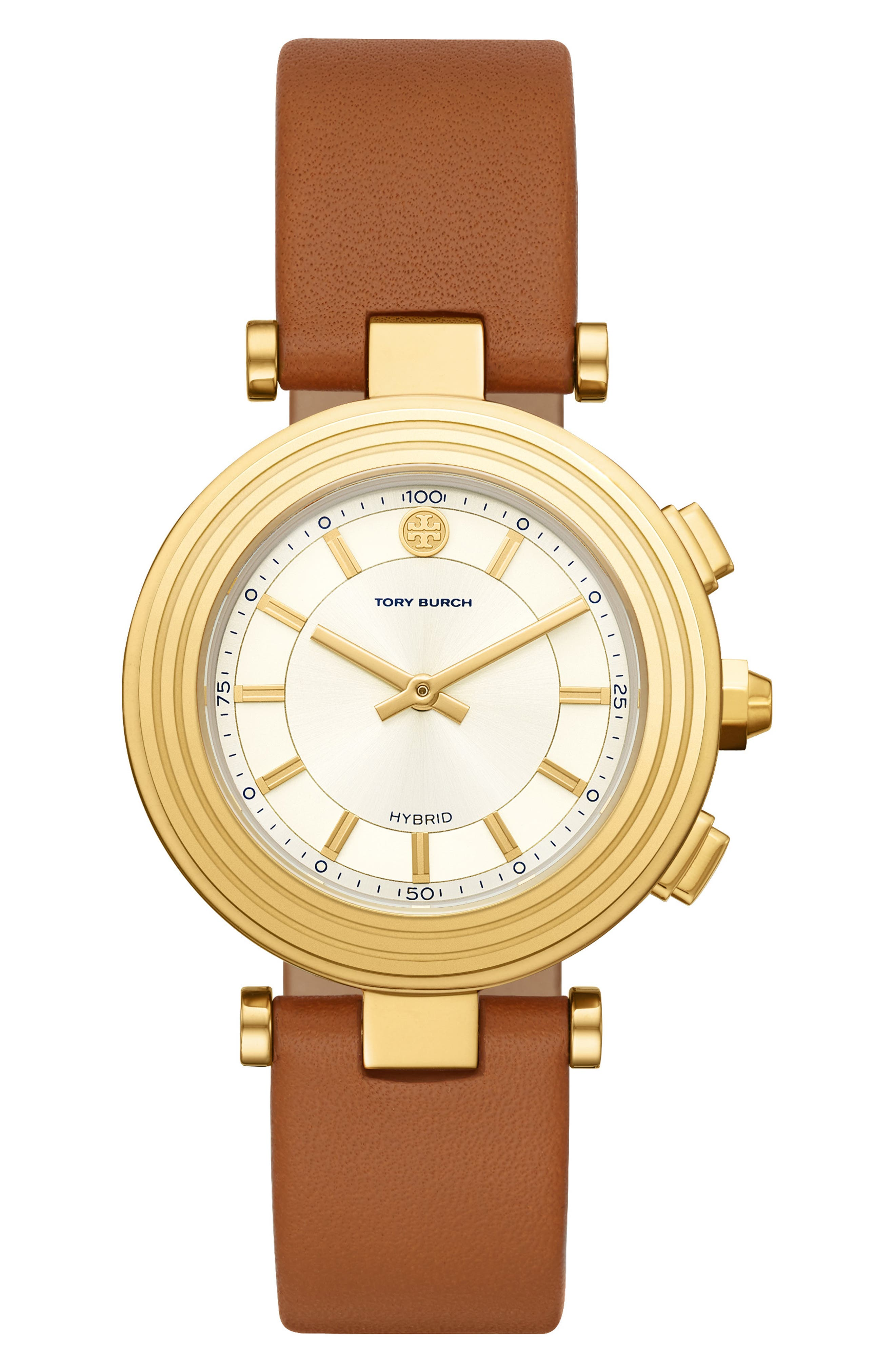 TORY BURCH, ToryTrack Hybrid Smart Watch, 36mm x 46mm, Main thumbnail 1, color, BROWN/ WHITE/ GOLD