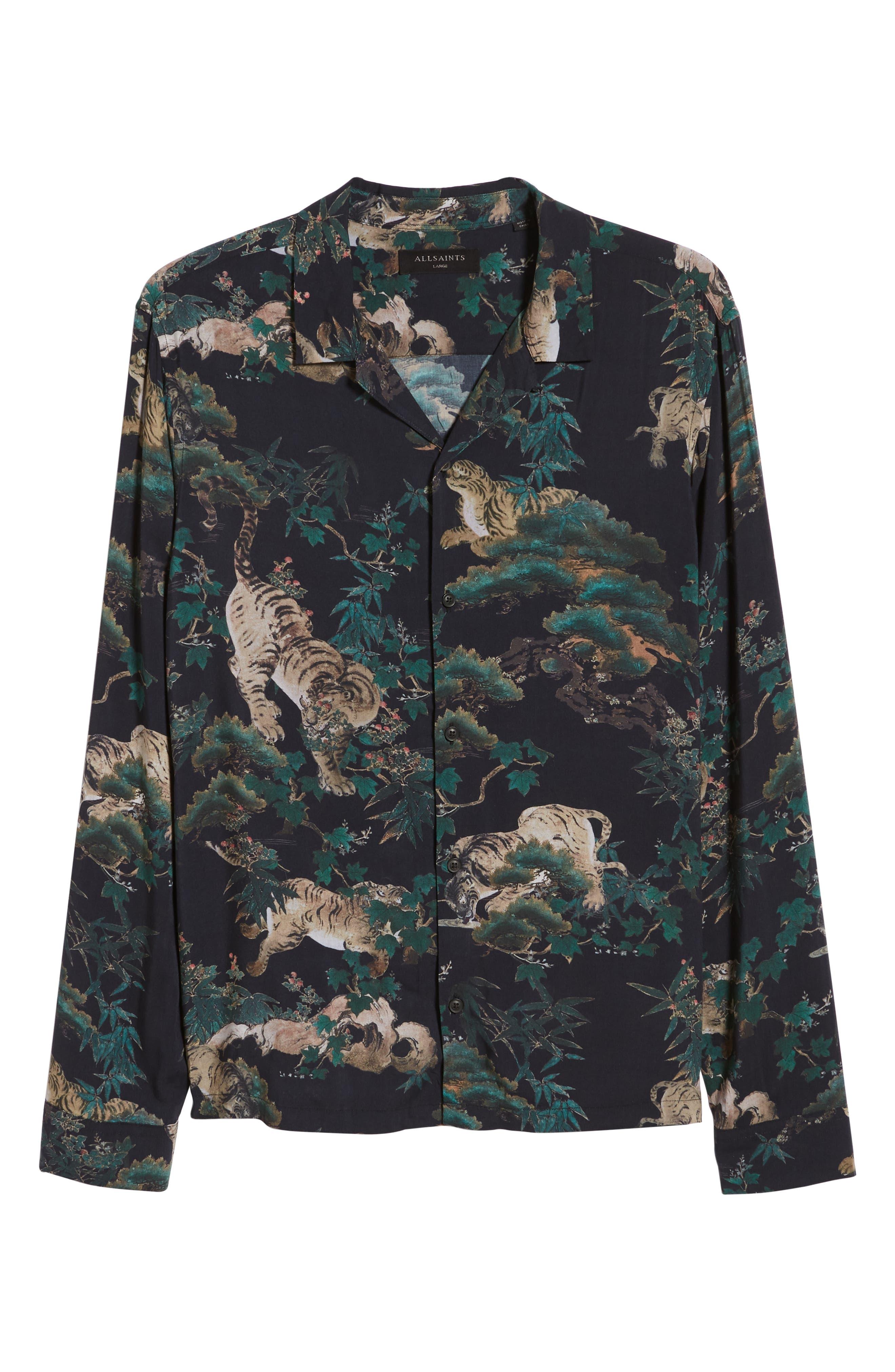 ALLSAINTS, Thicket Tiger Print Sport Shirt, Alternate thumbnail 4, color, 003