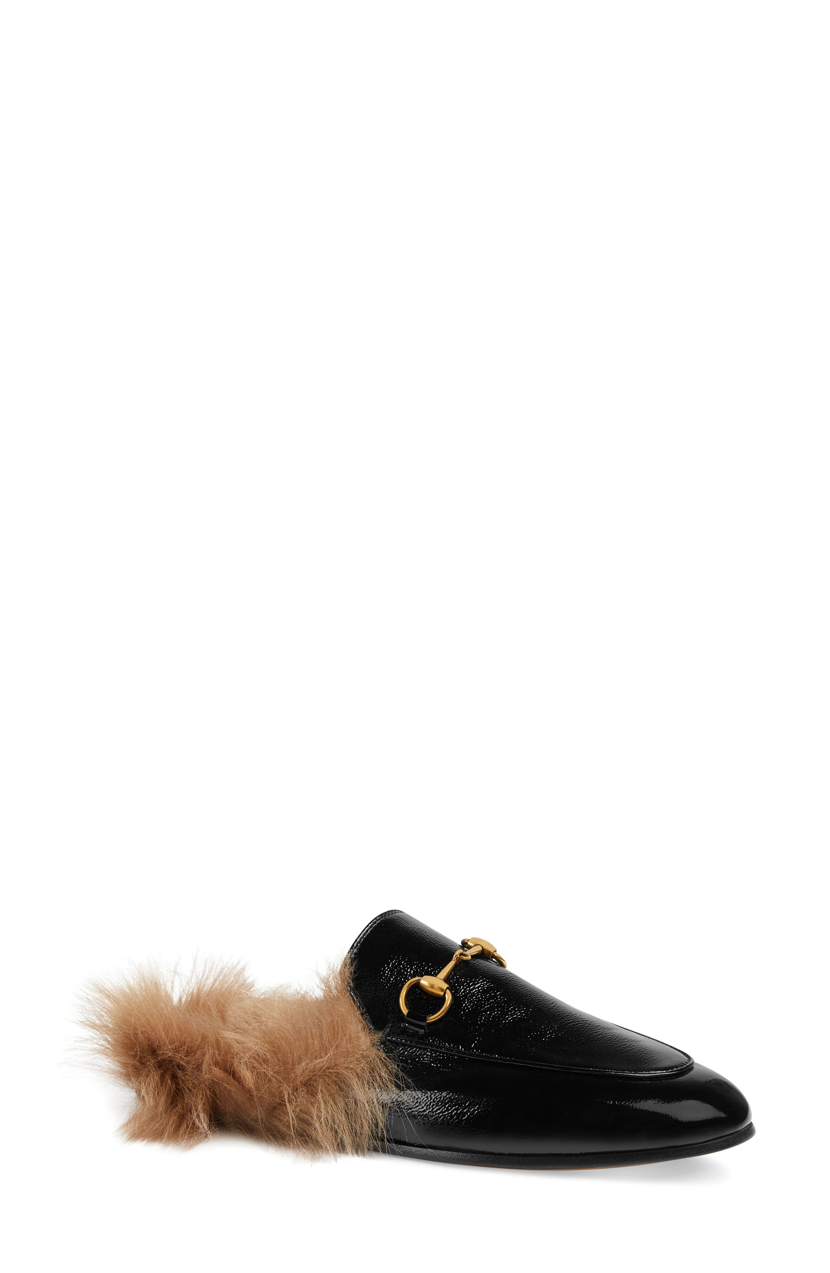 GUCCI, Princetown Genuine Shearling Loafer Mule, Main thumbnail 1, color, BLACK PATENT