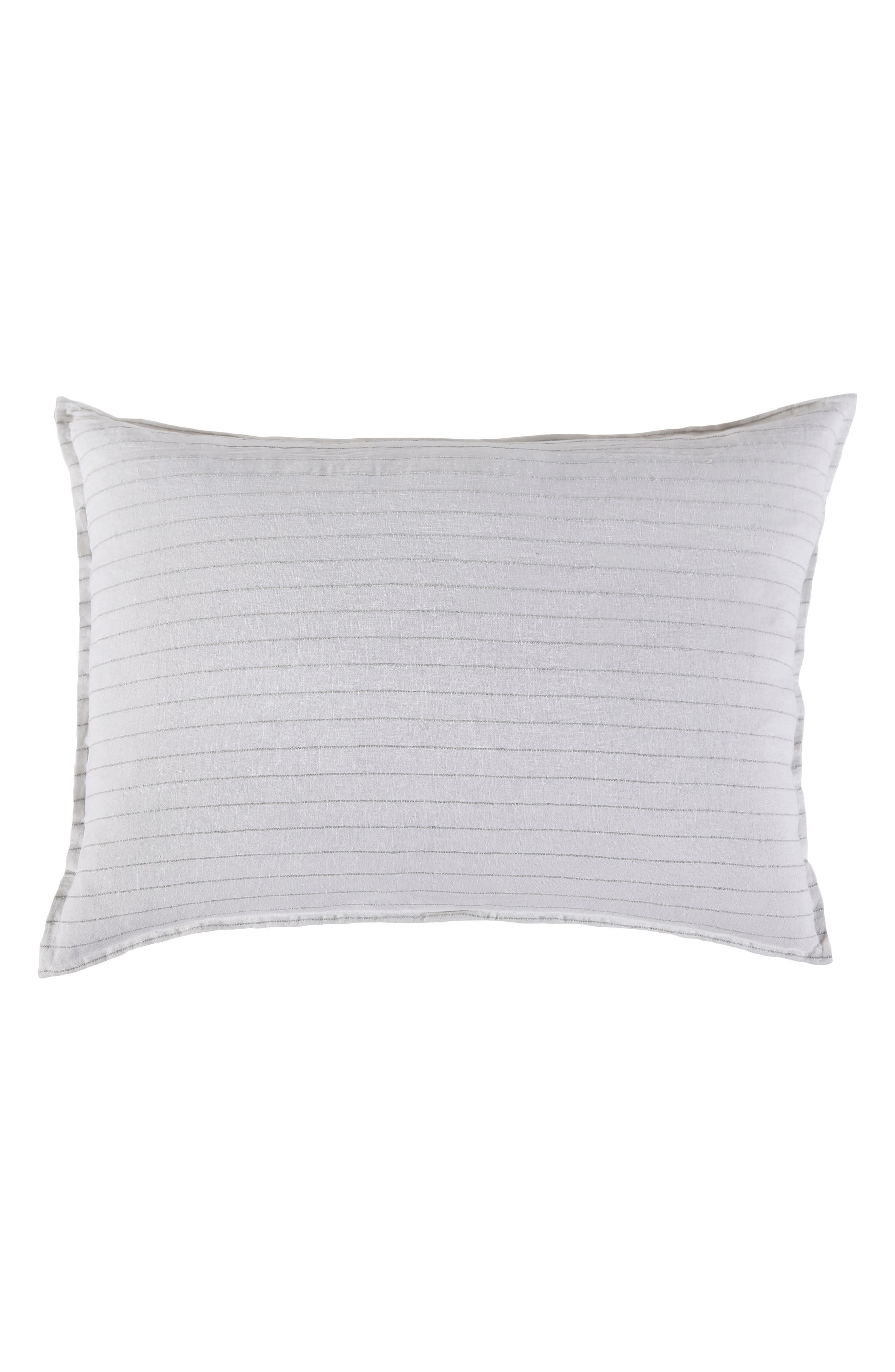 POM POM AT HOME, Blake Big Linen Accent Pillow, Main thumbnail 1, color, WHITE/ OCEAN
