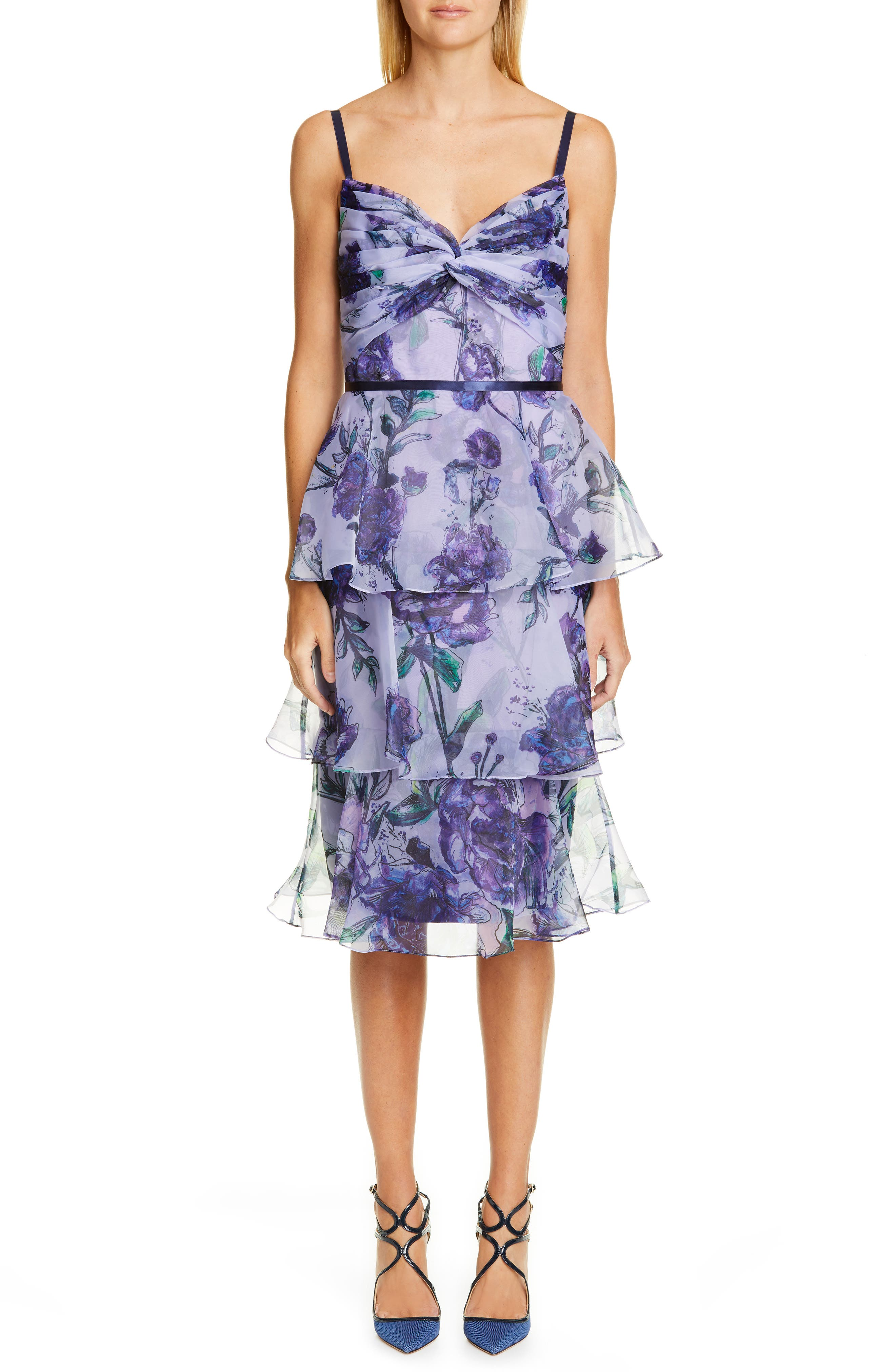 Marchesa Notte Floral Tiered Midi Dress, Purple