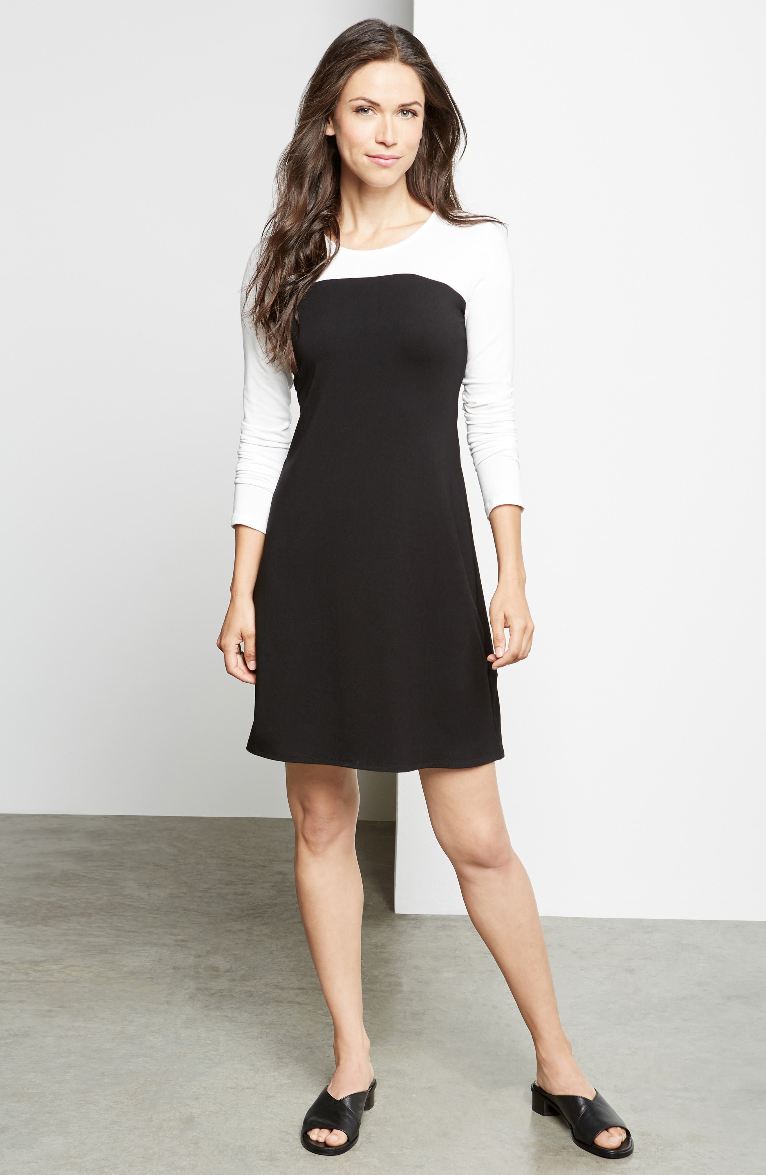 KAREN KANE, Colorblock Sheath Dress, Alternate thumbnail 5, color, BLACK WITH OFF WHITE