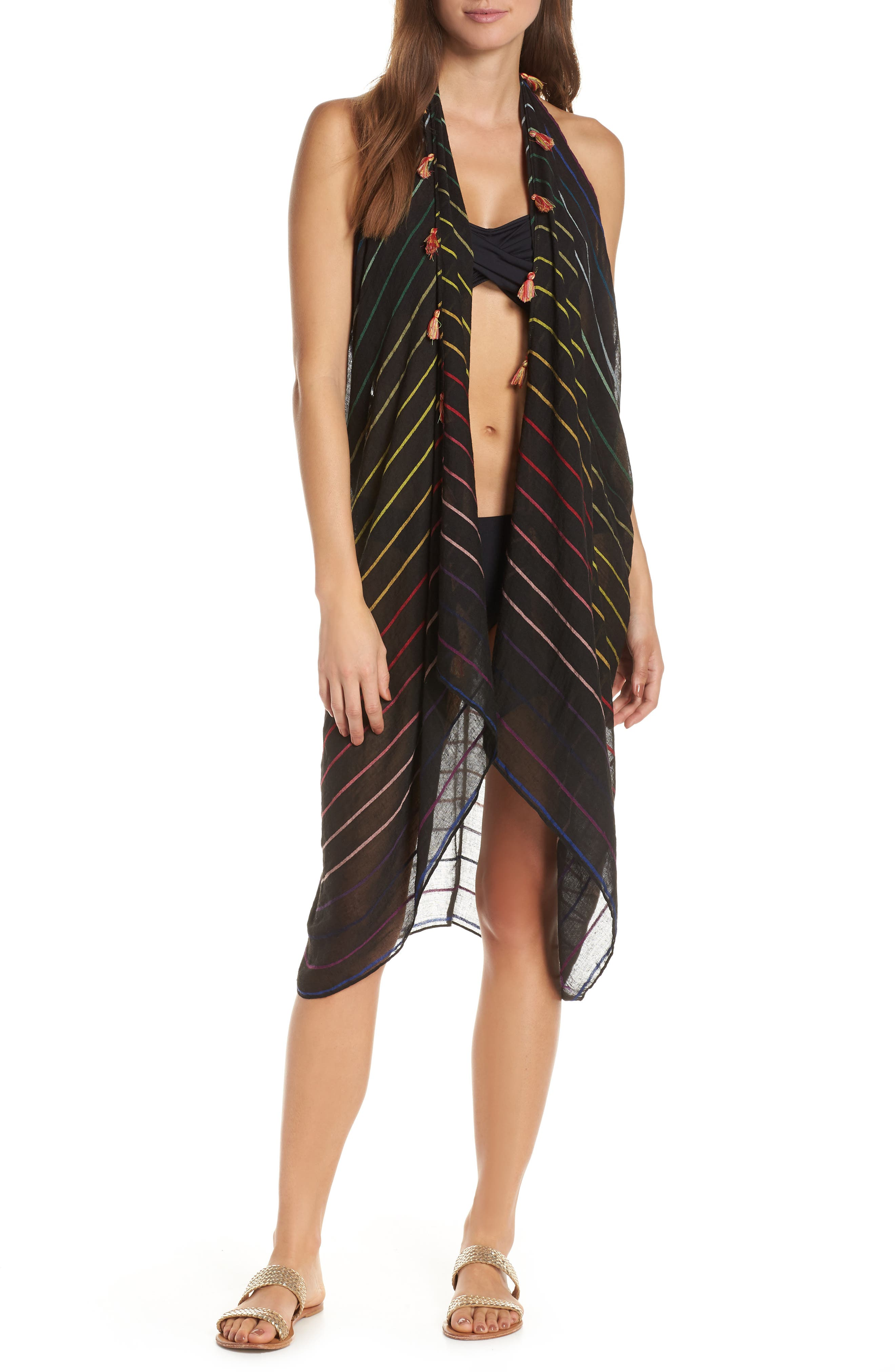 POOL TO PARTY, Spirit Cover-Up Vest, Main thumbnail 1, color, BLACK