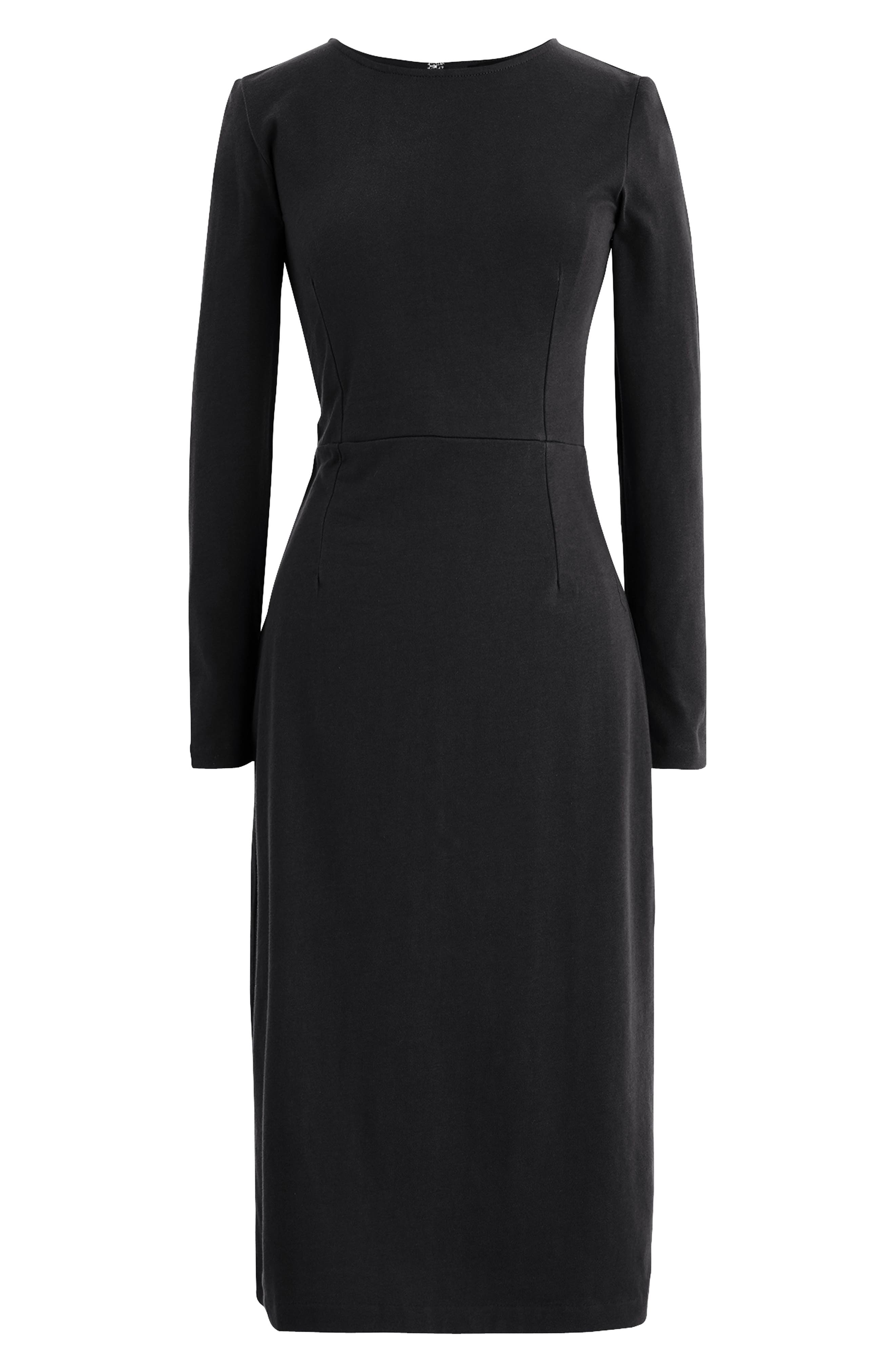 J.CREW, Knit Sheath Dress, Main thumbnail 1, color, BLACK