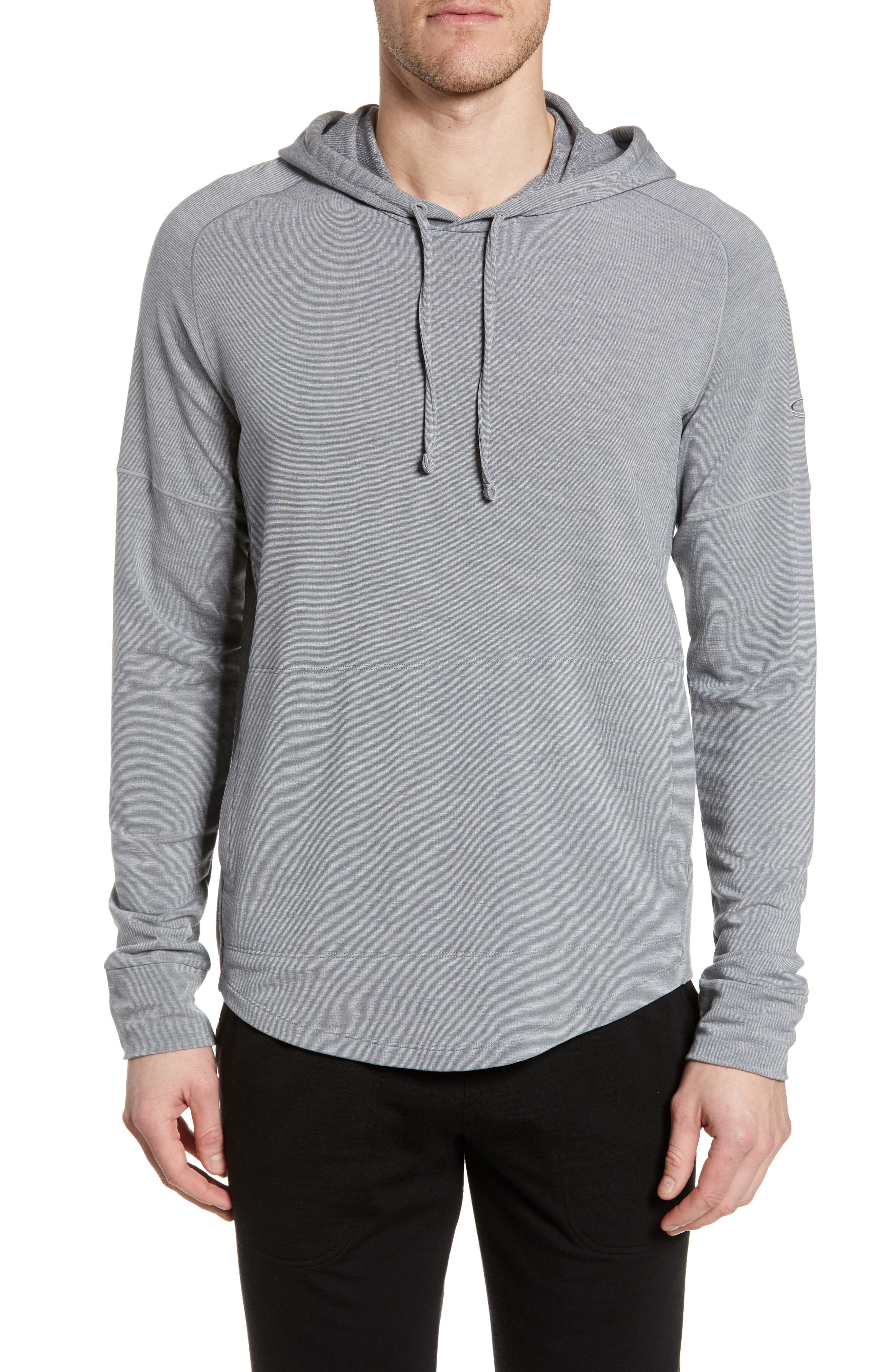 ICEBREAKER Momentum Hoodie, Main, color, FOSSIL/ SNOW HEATHER