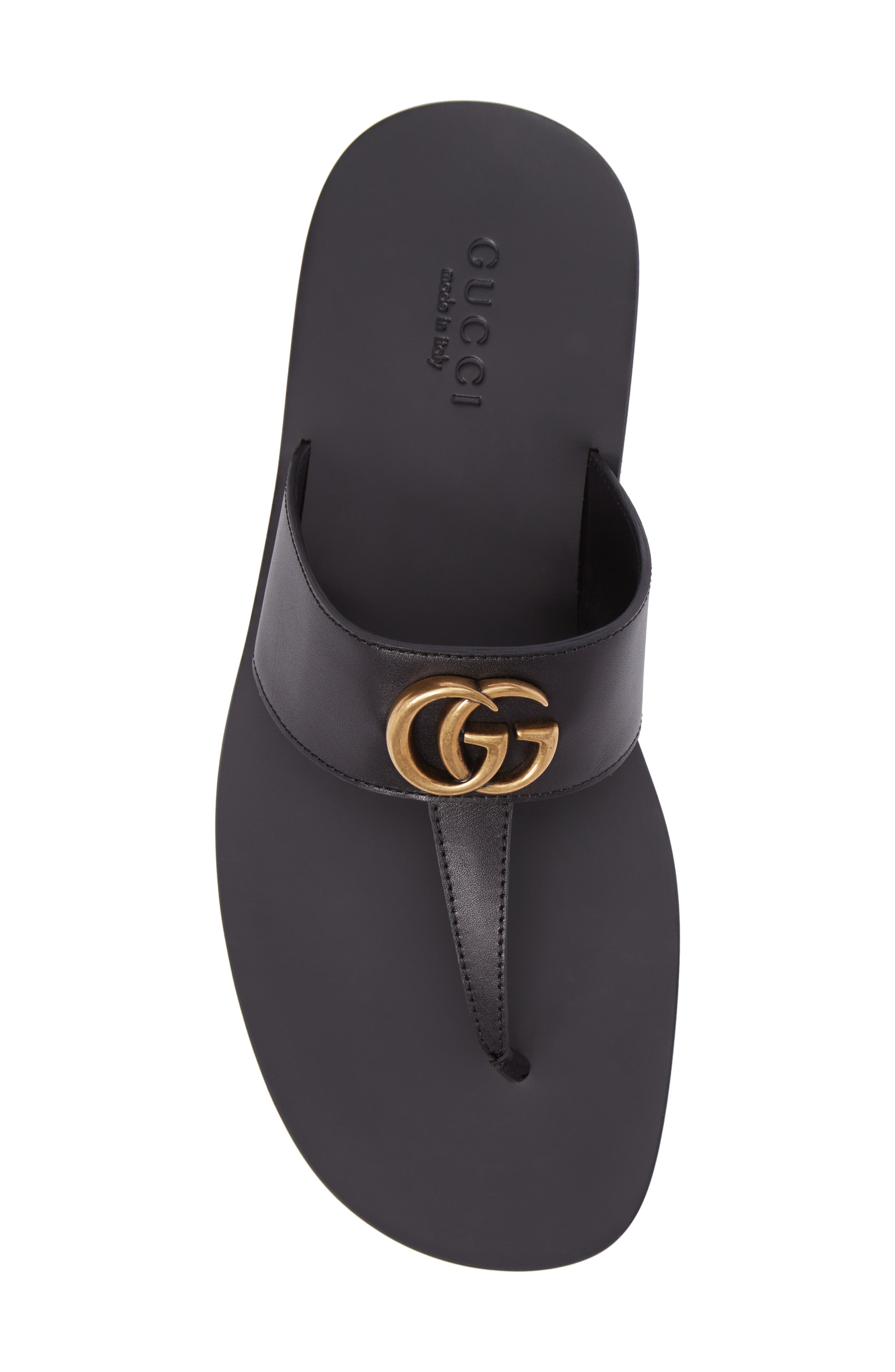GUCCI, Marmont Double G Leather Thong Sandal, Alternate thumbnail 5, color, BLACK/ GOLD