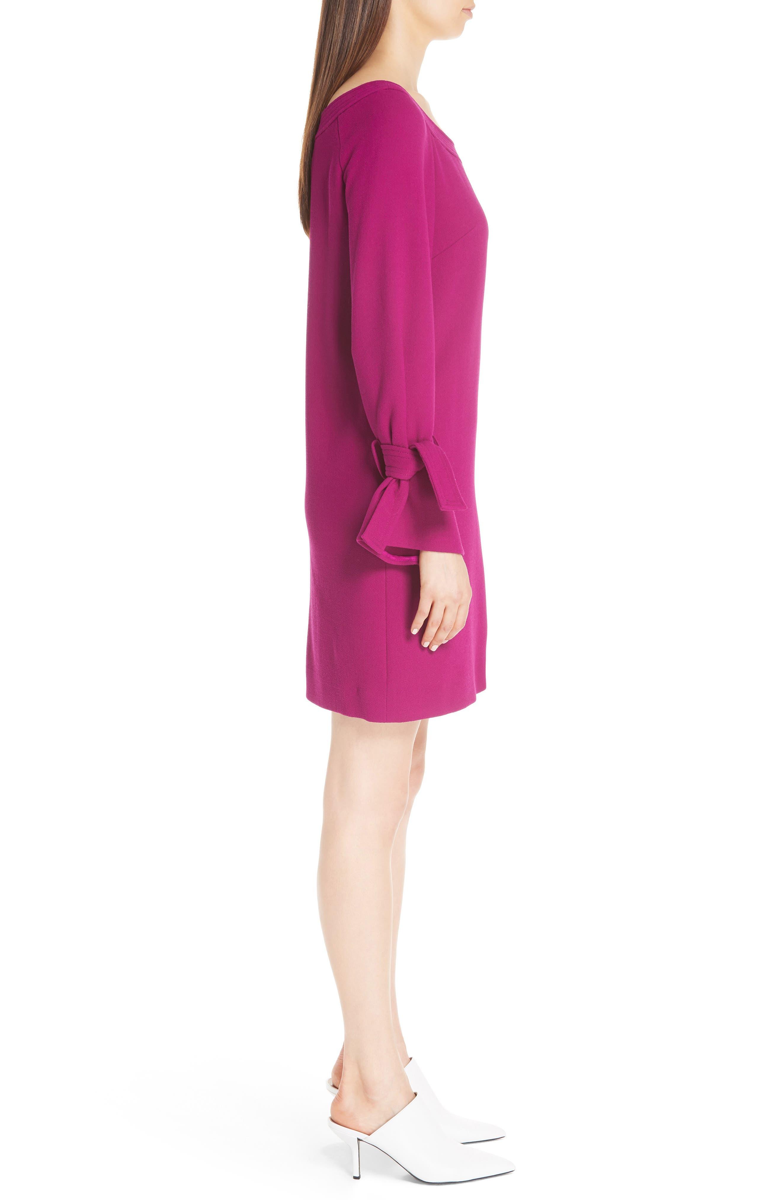 LELA ROSE, Tie Cuff Wool Blend Crepe Shift Dress, Alternate thumbnail 3, color, MAGENTA