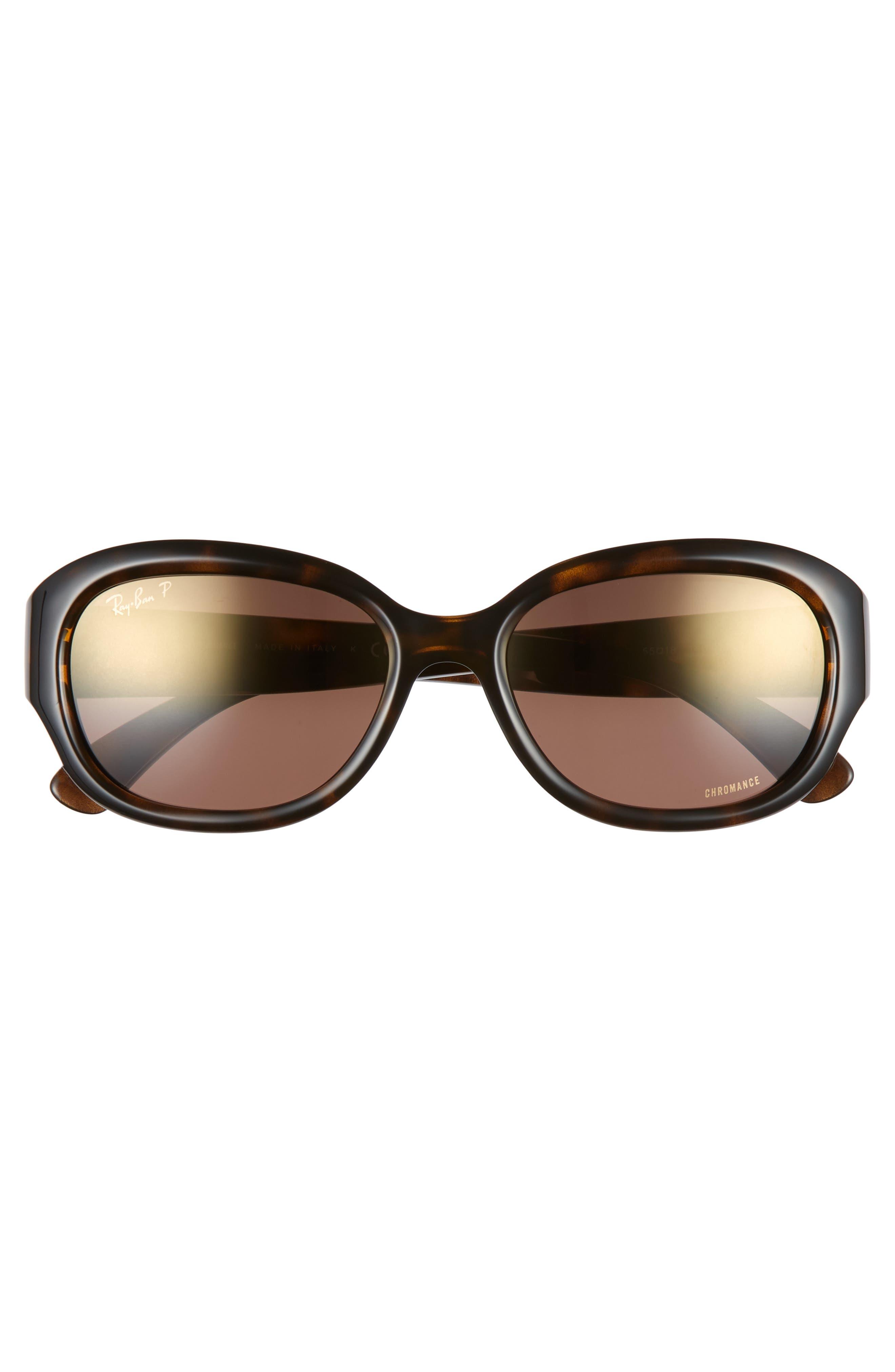 RAY-BAN, 55mm Chromance Polarized Sunglasses, Alternate thumbnail 3, color, HAVANA/ GRADIENT MIRROR