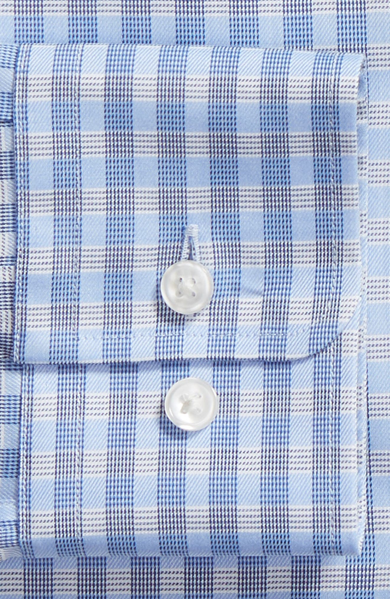 BOSS, Mark Sharp Fit Check Dress Shirt, Alternate thumbnail 6, color, BLUE