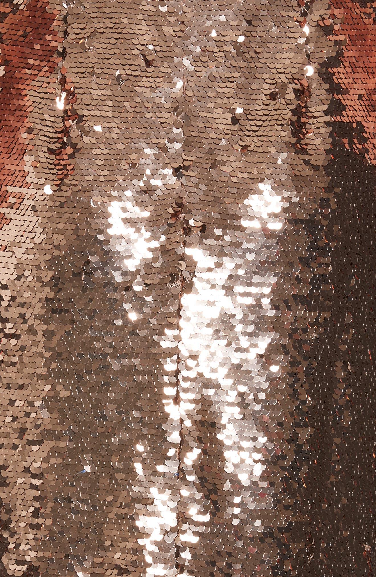 SALONI, Aidan Sequin Ruffle Hem Midi Dress, Alternate thumbnail 6, color, BRONZE