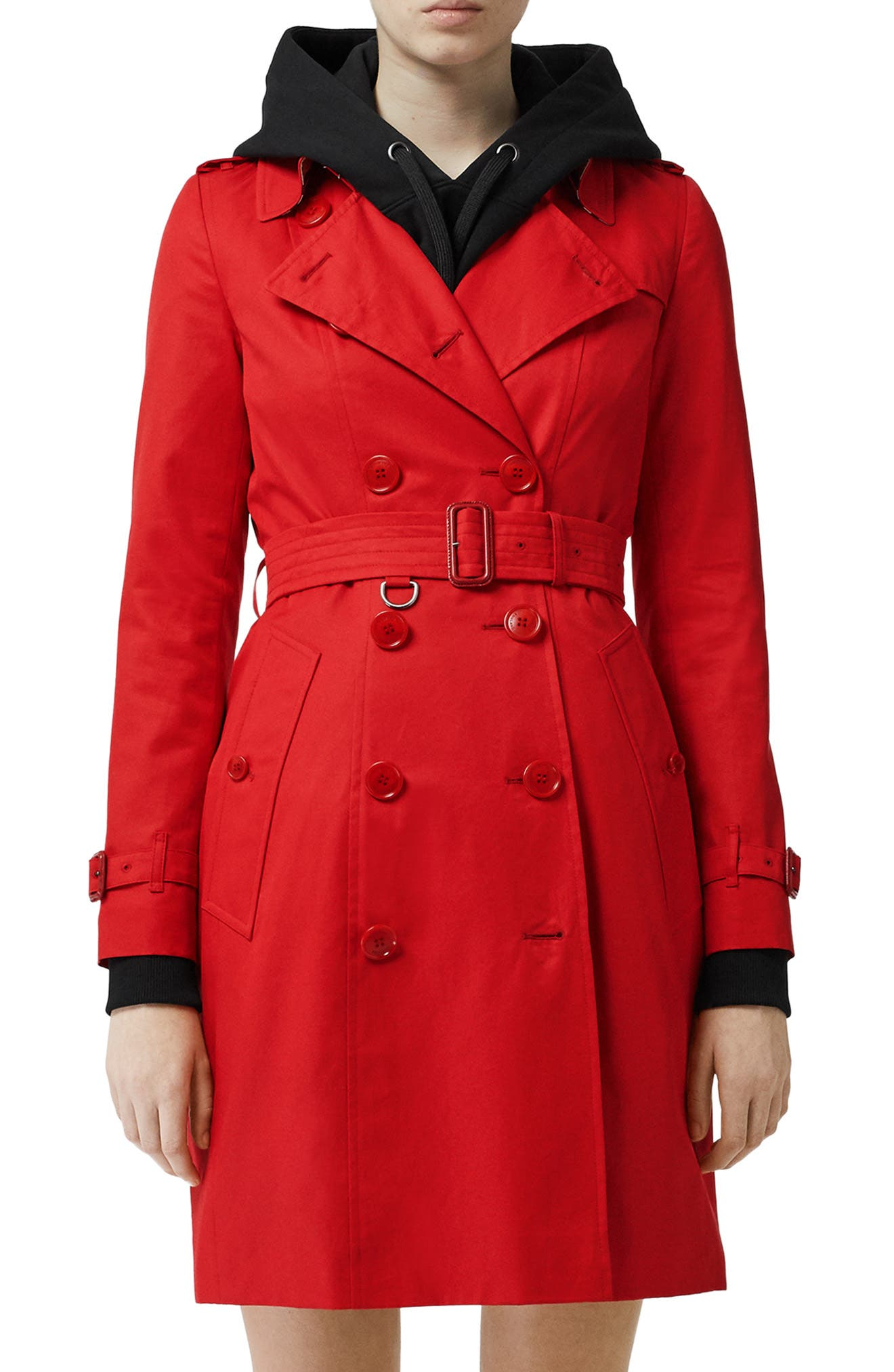 BURBERRY, The Chelsea Cotton Gabardine Trench Coat, Main thumbnail 1, color, BRIGHT RED