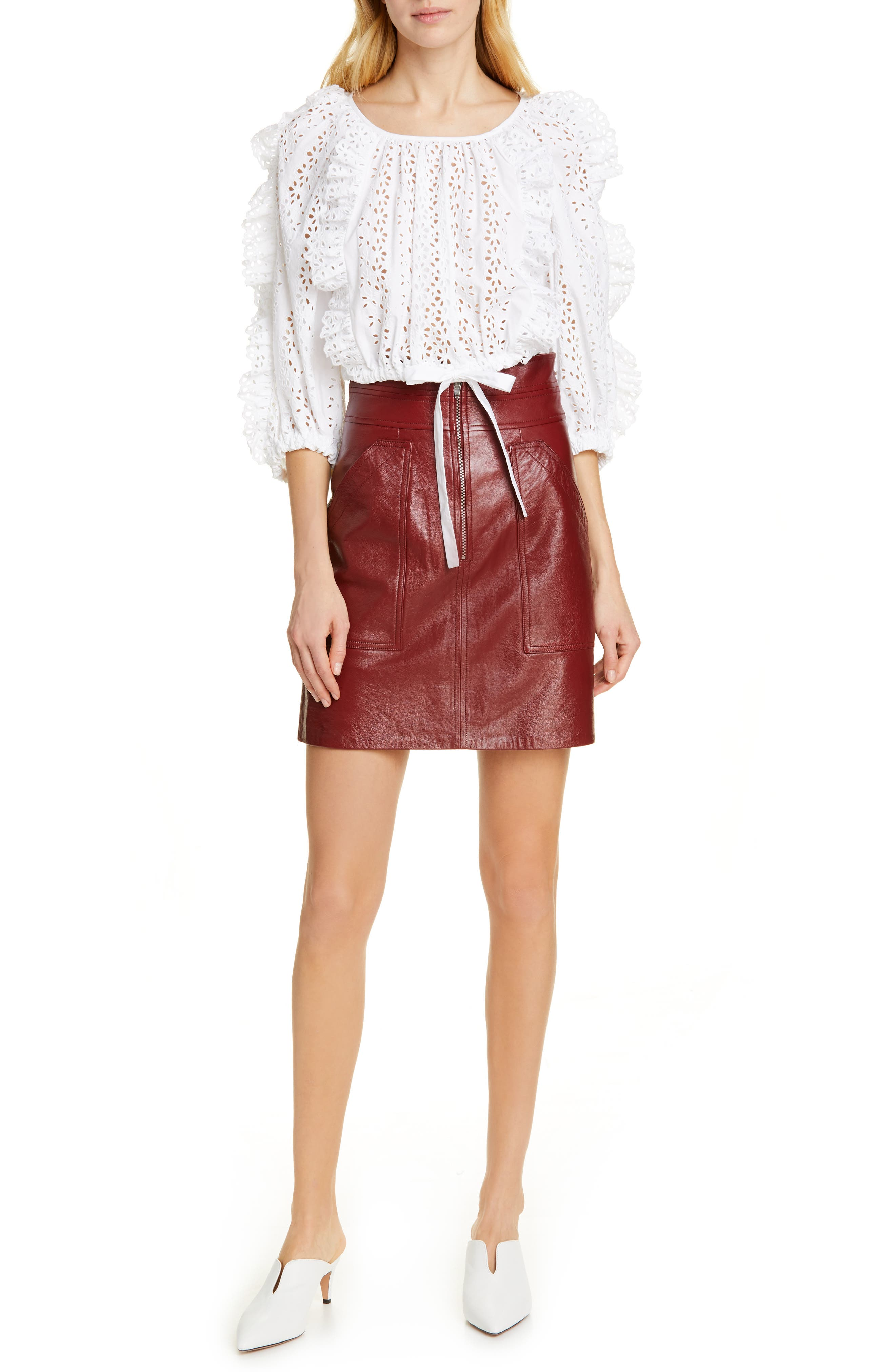 REBECCA TAYLOR, Leather Skirt, Alternate thumbnail 7, color, SPICE