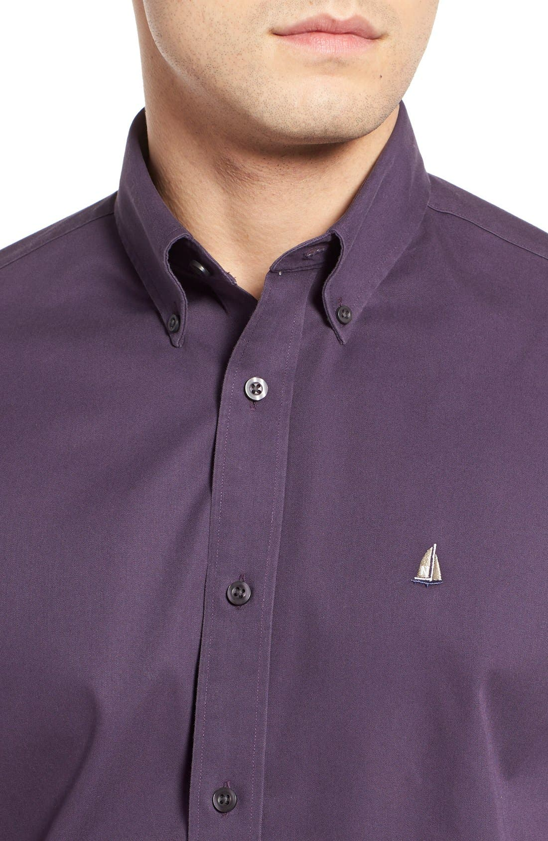 NORDSTROM MEN'S SHOP, Smartcare<sup>™</sup> Traditional Fit Twill Boat Shirt, Alternate thumbnail 2, color, PURPLE NIGHT