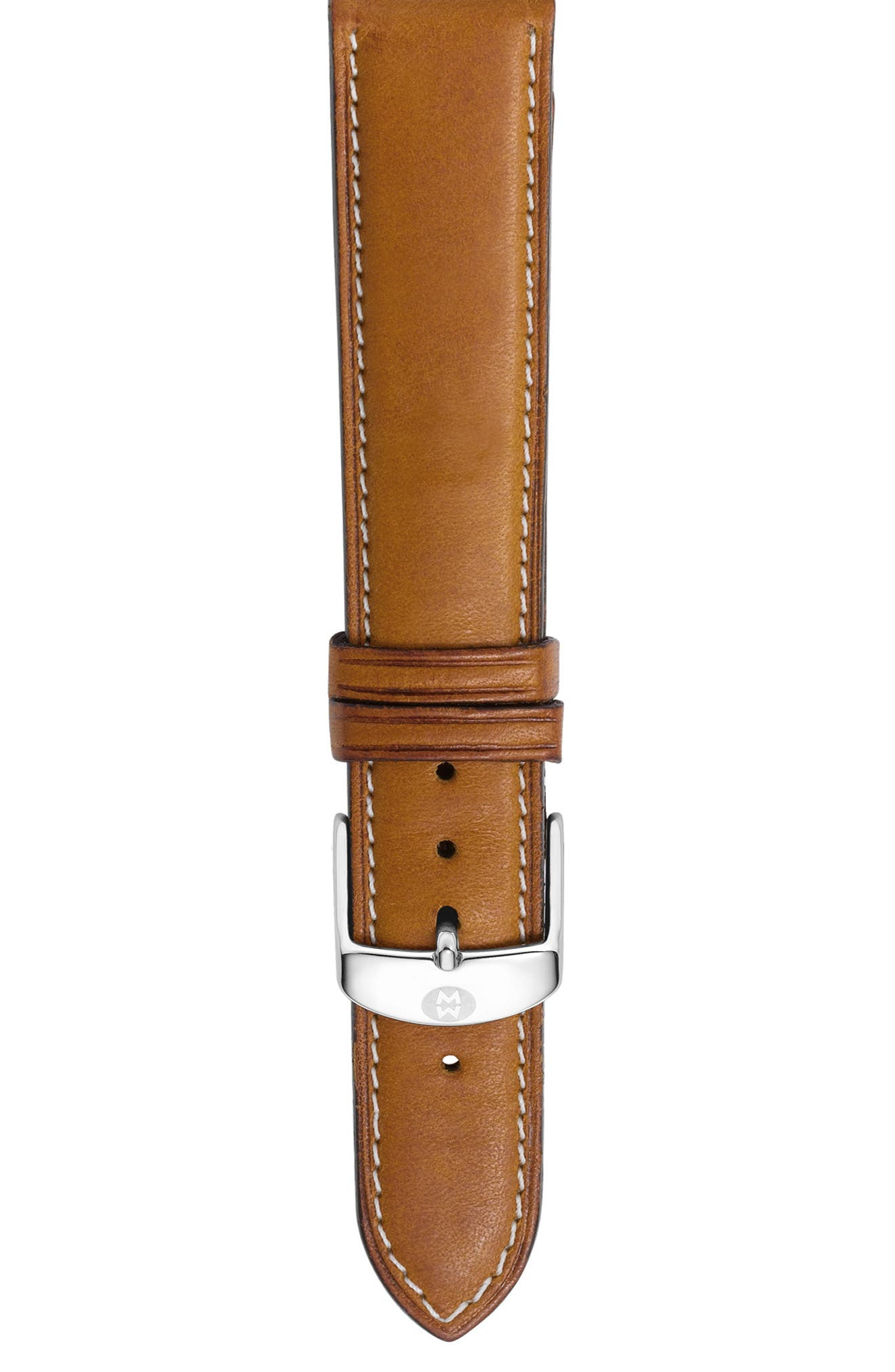 MICHELE, 18mm Leather Watch Strap, Main thumbnail 1, color, SADDLE